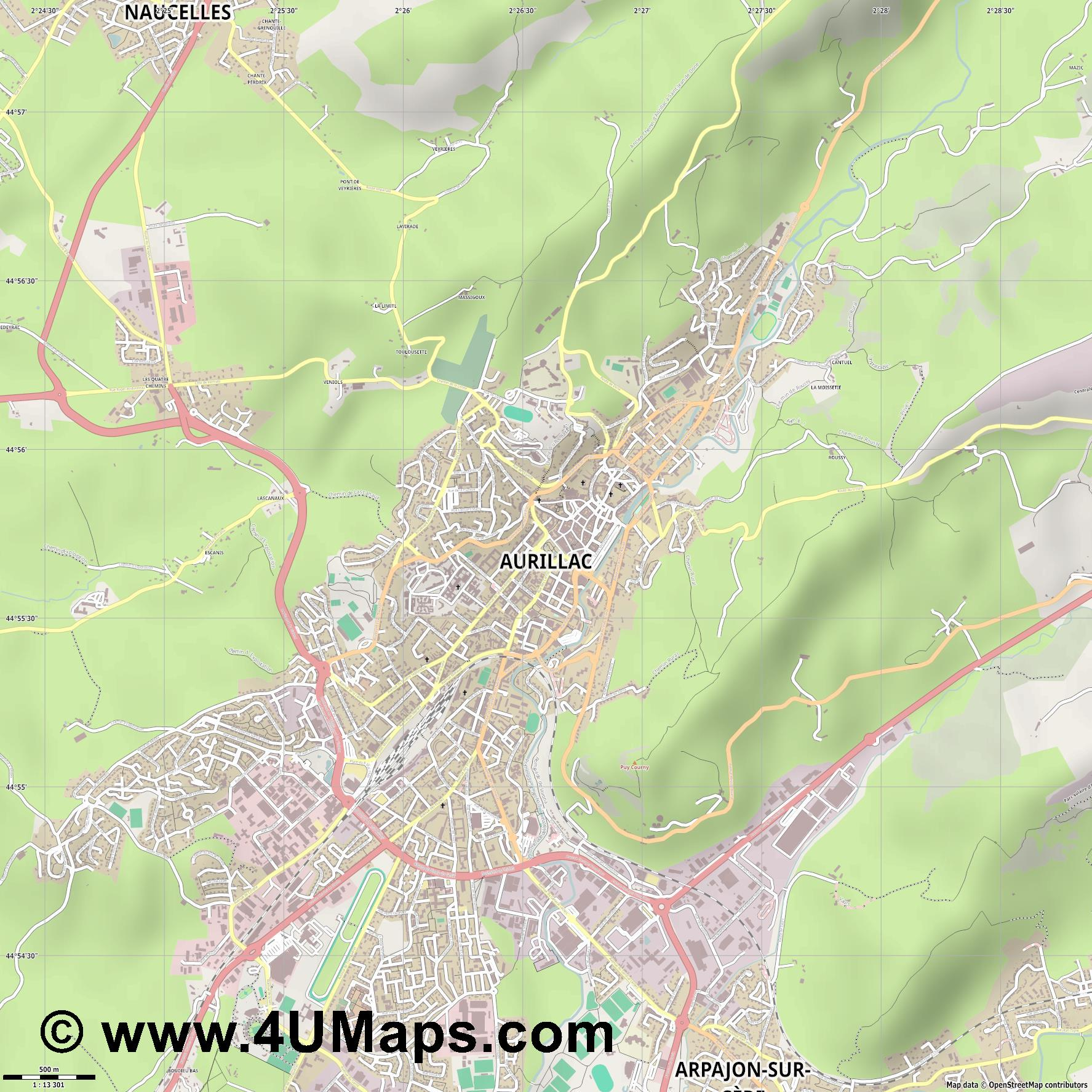 Aurillac  jpg ultra high detail preview vector city map