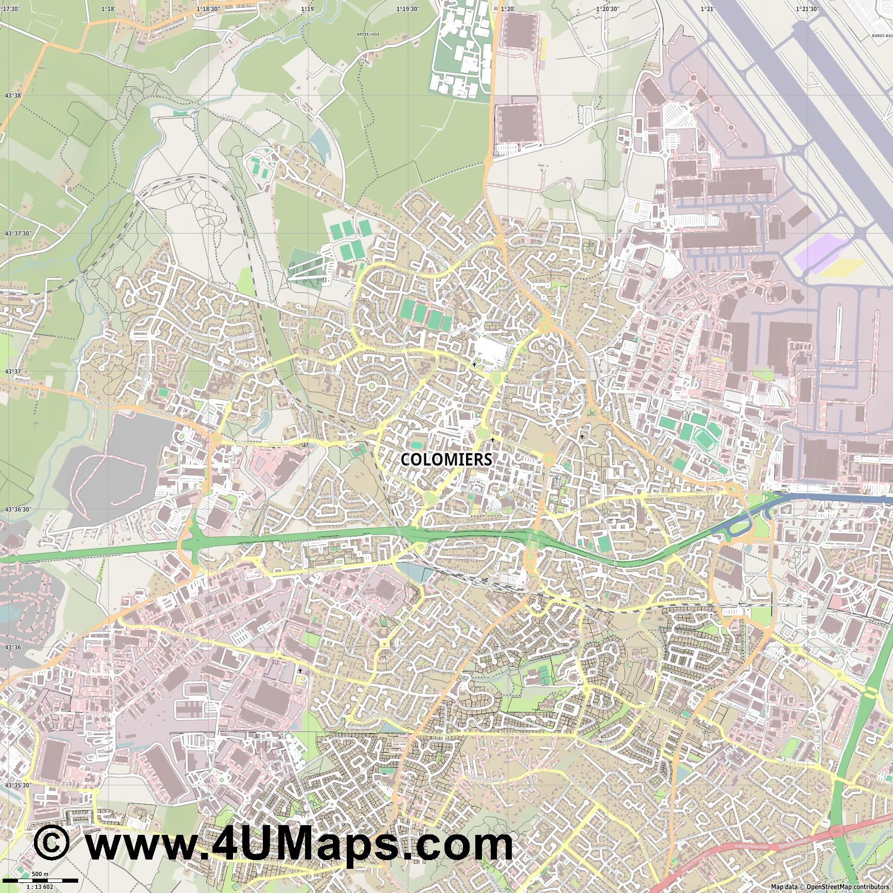 Colomiers  jpg ultra high detail preview vector city map
