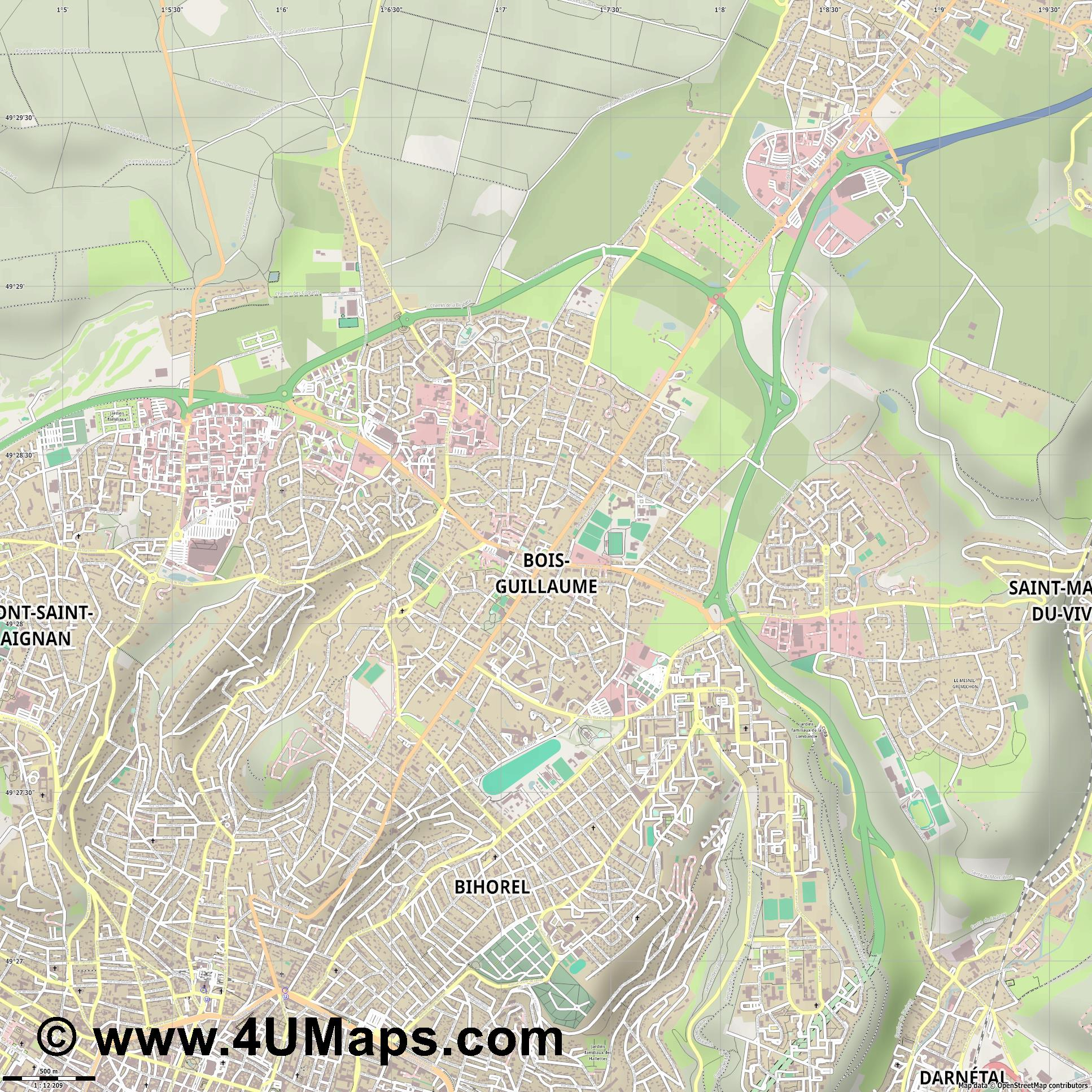 Bois Guillaume Bihorel  jpg ultra high detail preview vector city map