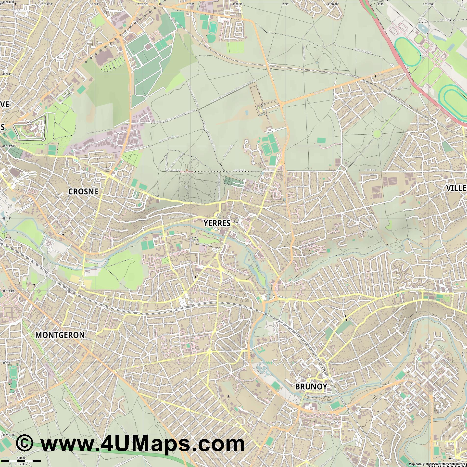 Yerres  jpg ultra high detail preview vector city map