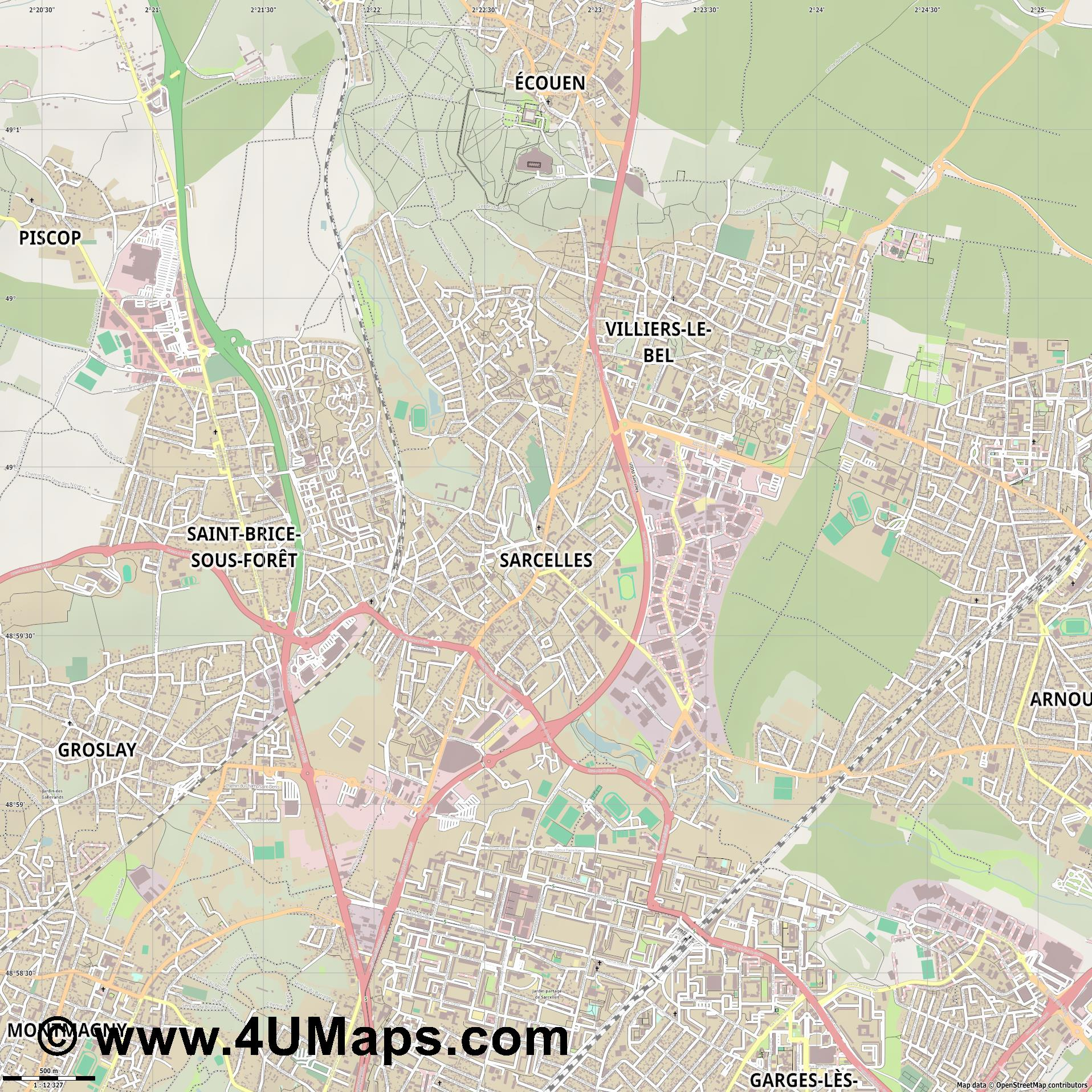 Sarcelles  jpg ultra high detail preview vector city map
