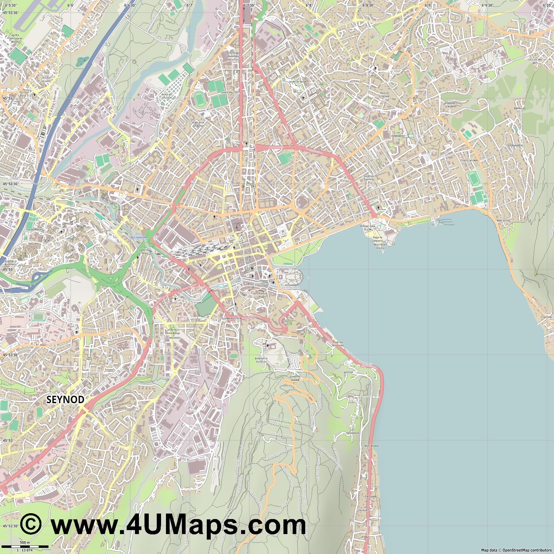Annecy  jpg ultra high detail preview vector city map