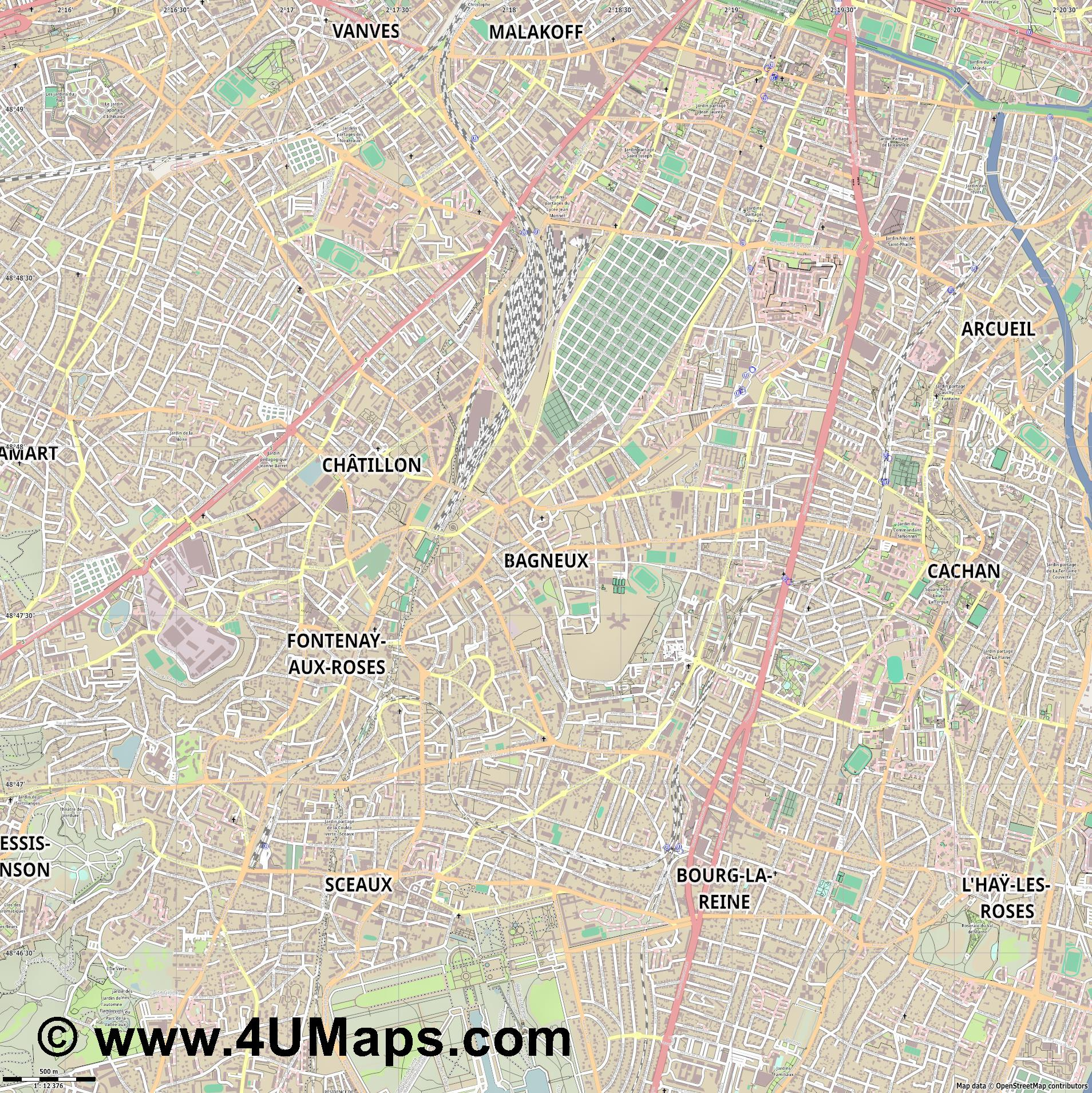 Bagneux  jpg ultra high detail preview vector city map