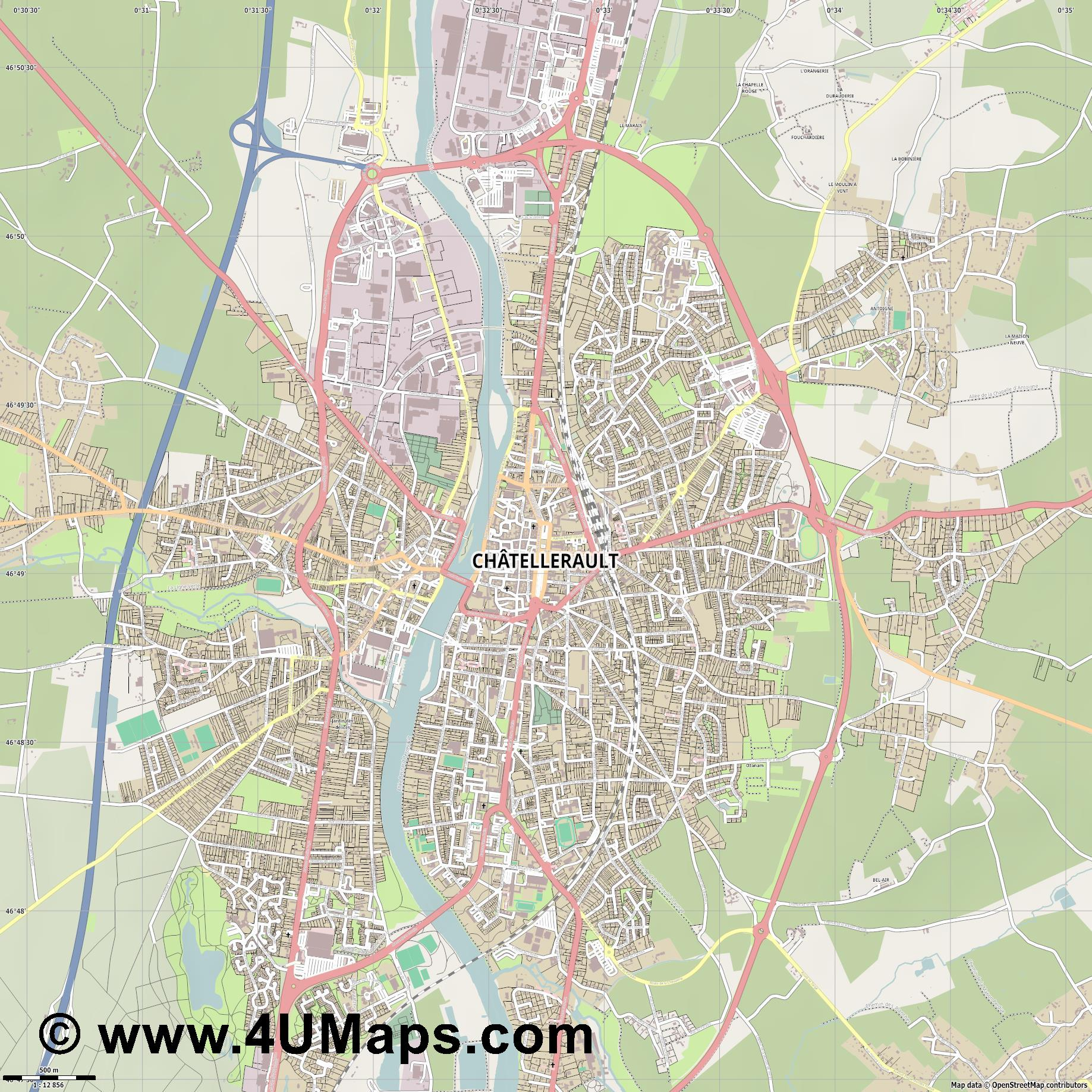 Châtellerault  jpg ultra high detail preview vector city map