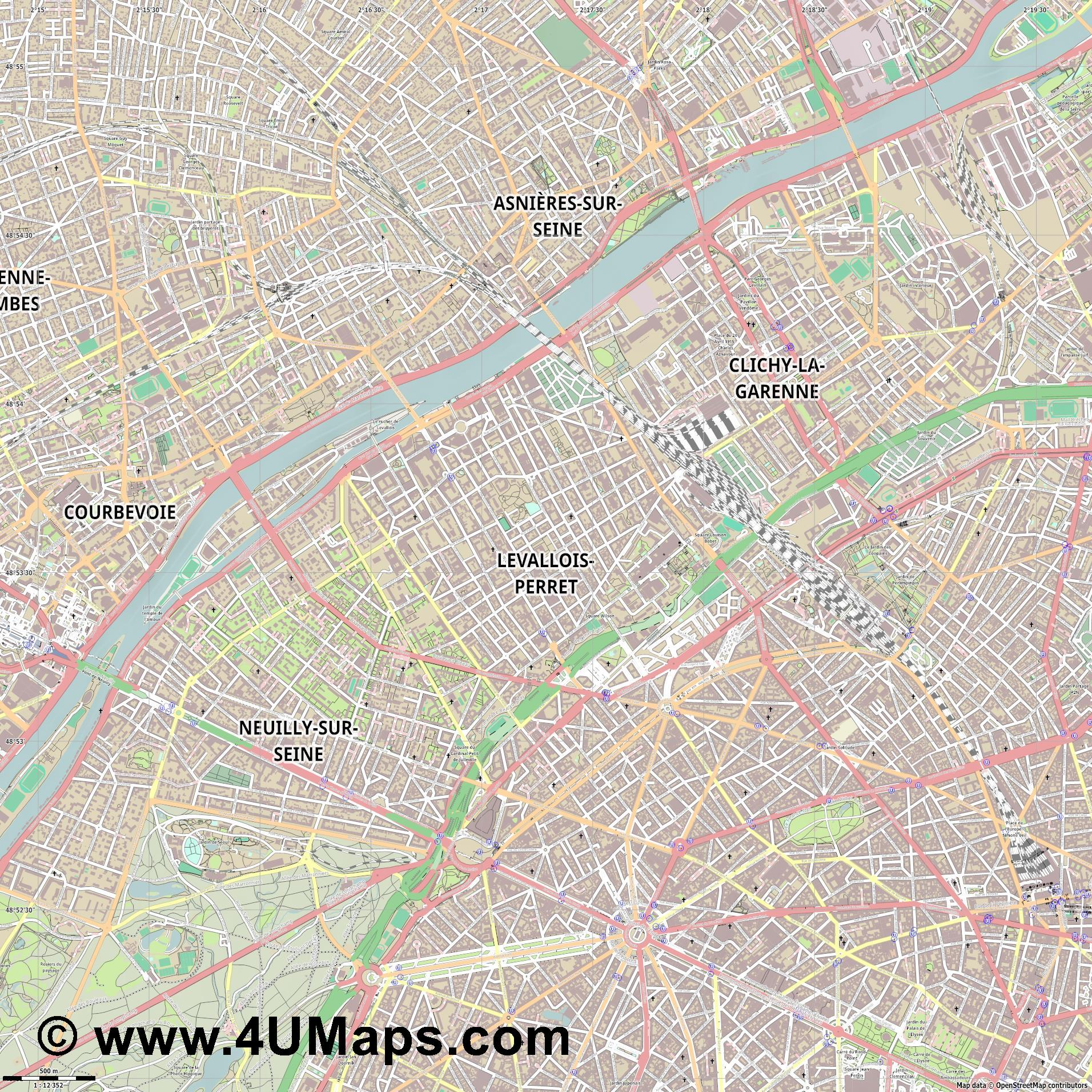 Levallois Perret  jpg ultra high detail preview vector city map
