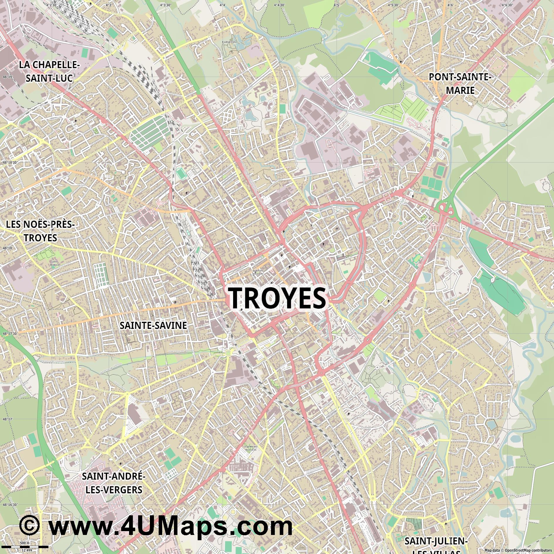 Troyes  jpg ultra high detail preview vector city map