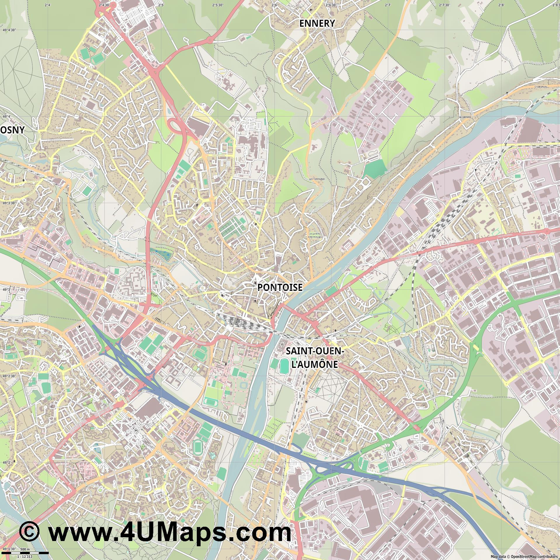 Pontoise  jpg ultra high detail preview vector city map