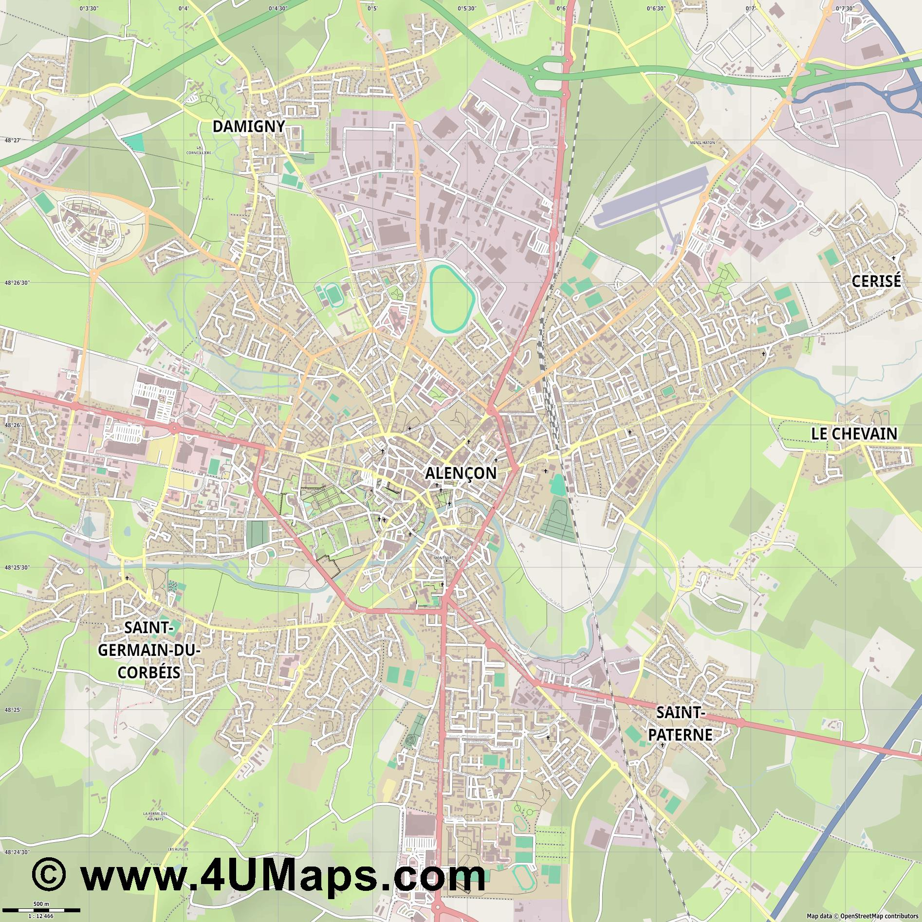 Alençon  jpg ultra high detail preview vector city map