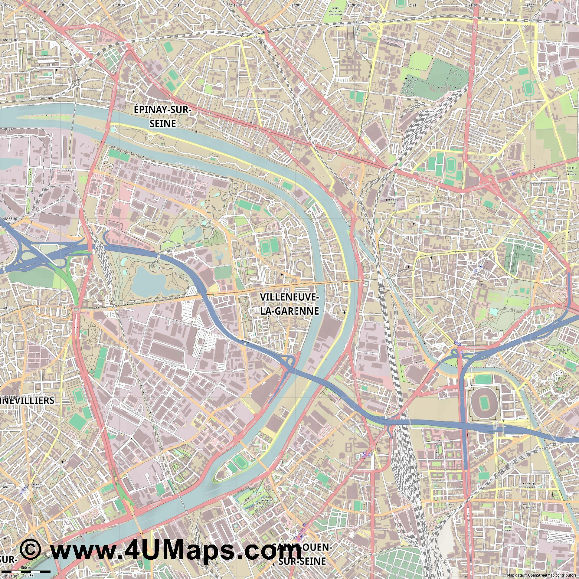 Villeneuve la Garenne  jpg ultra high detail preview vector city map