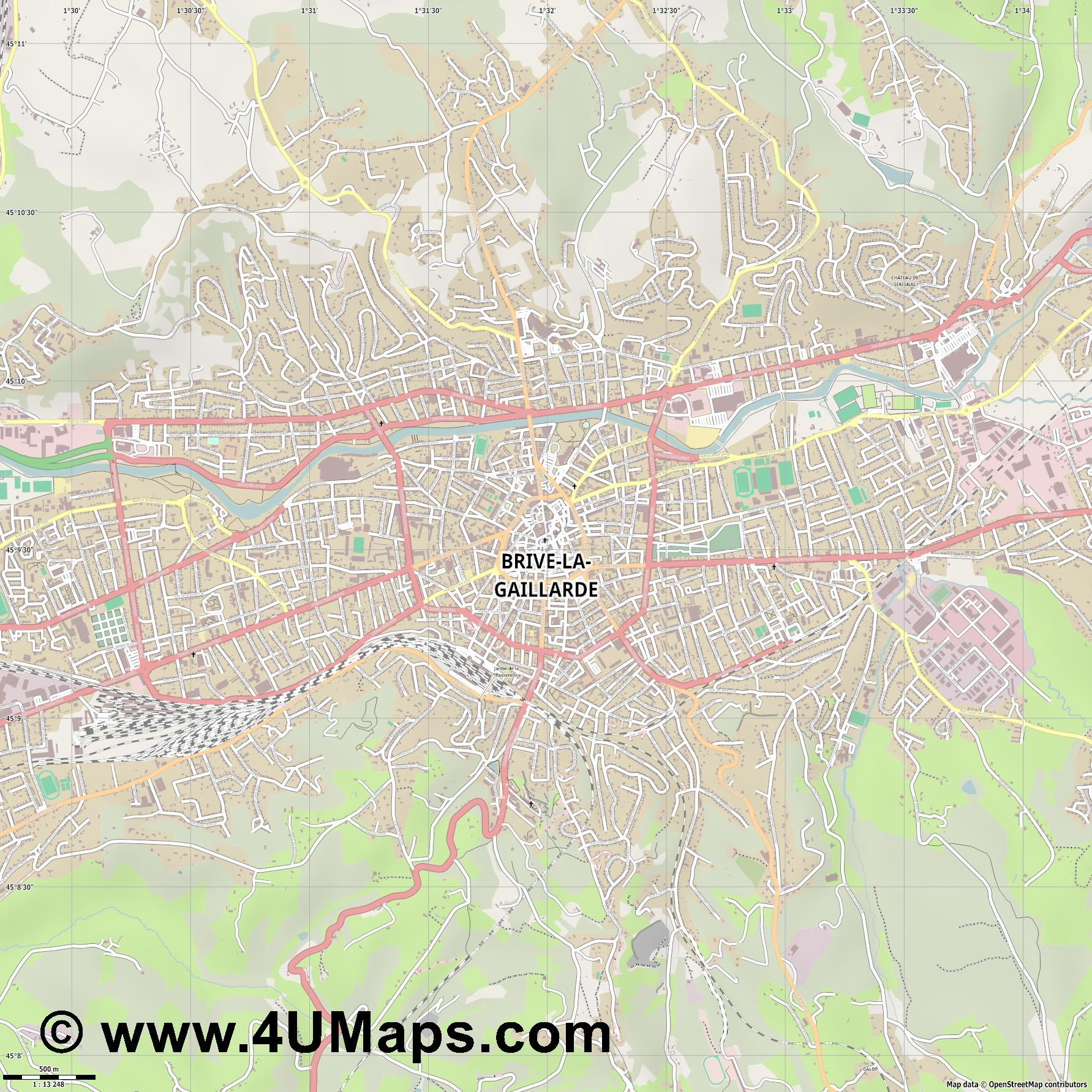 Brive la Gaillarde  jpg ultra high detail preview vector city map
