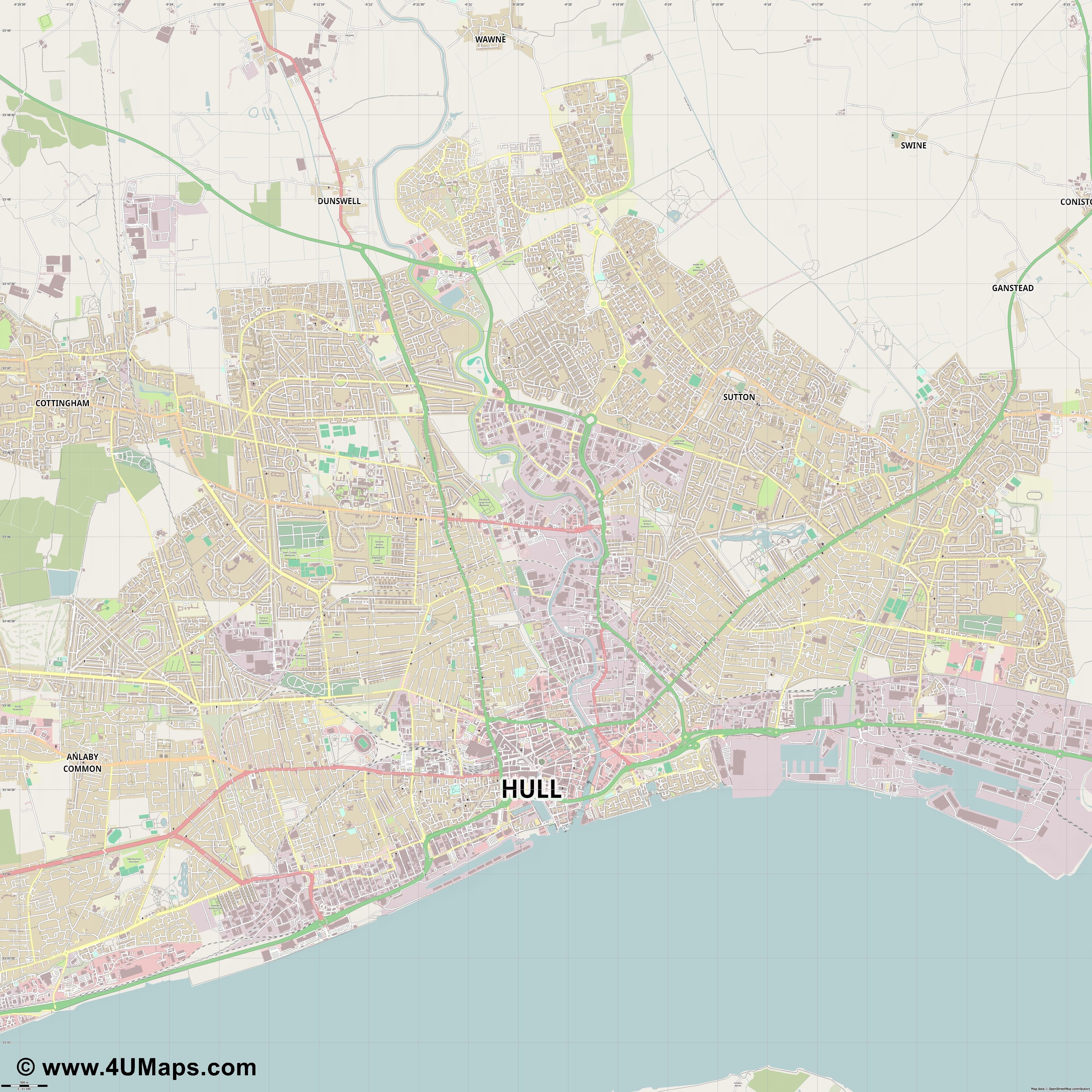 Kingston upon Hull  jpg ultra high detail preview vector city map
