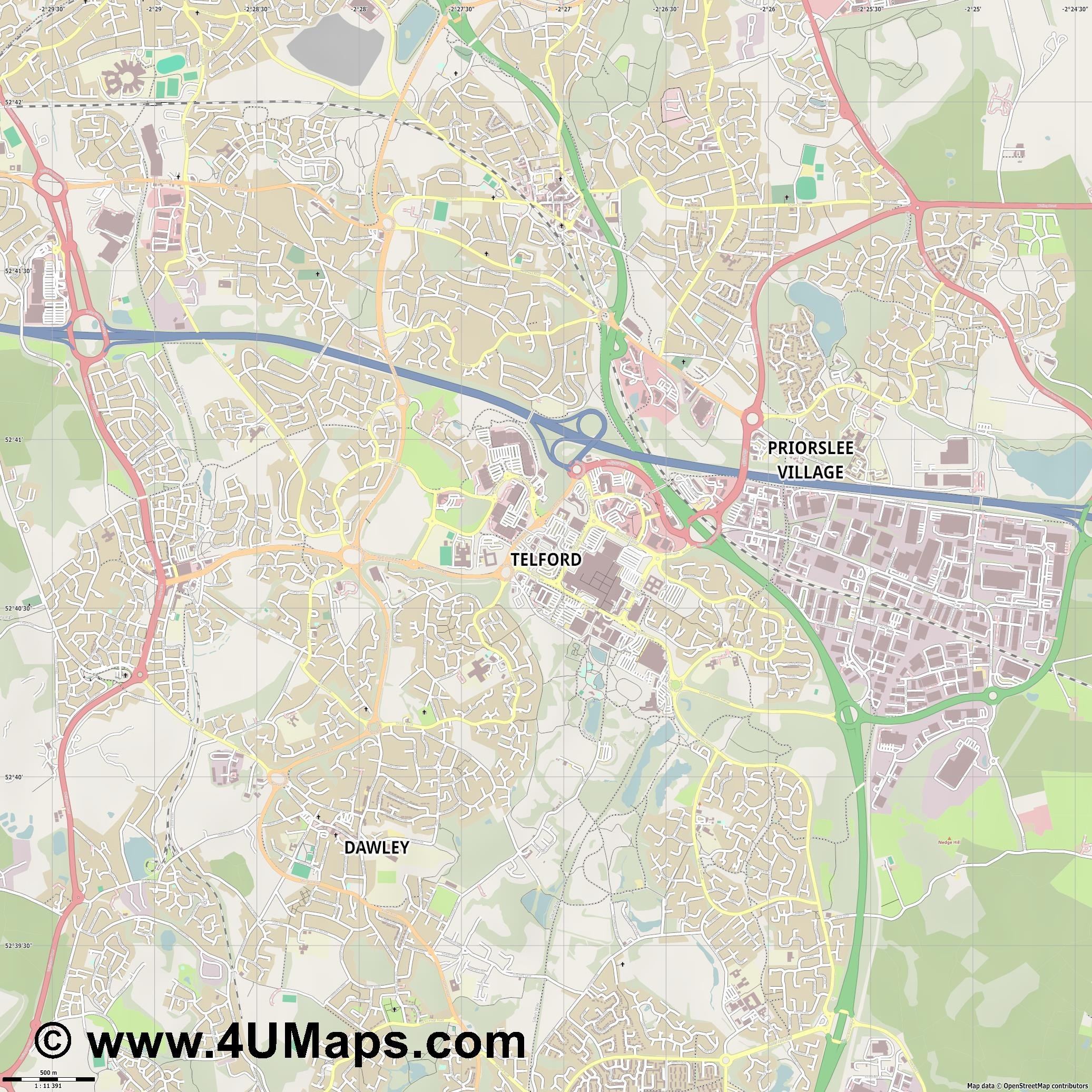 Telford  jpg ultra high detail preview vector city map
