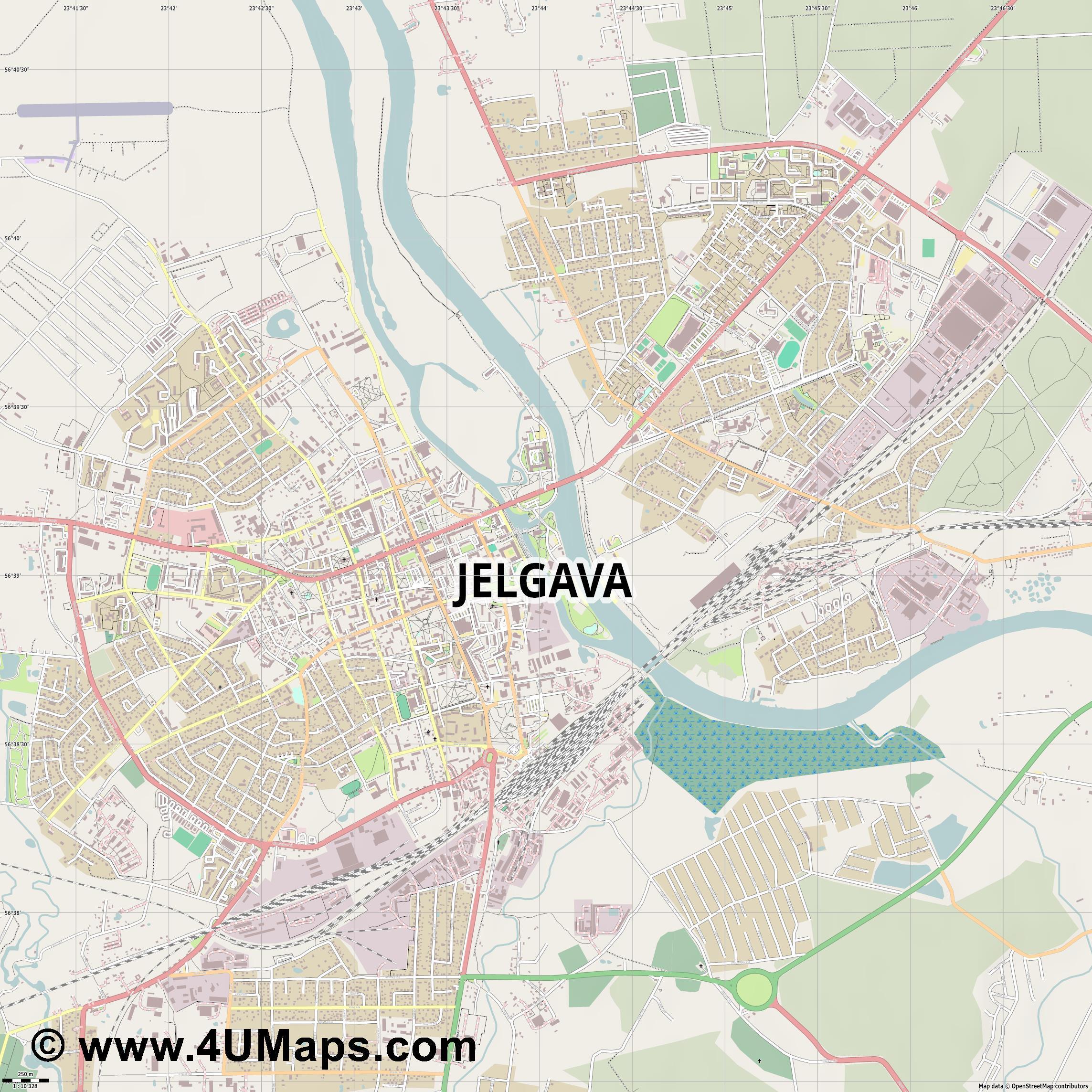 PDF Svg Scalable Vector City Map Jelgava