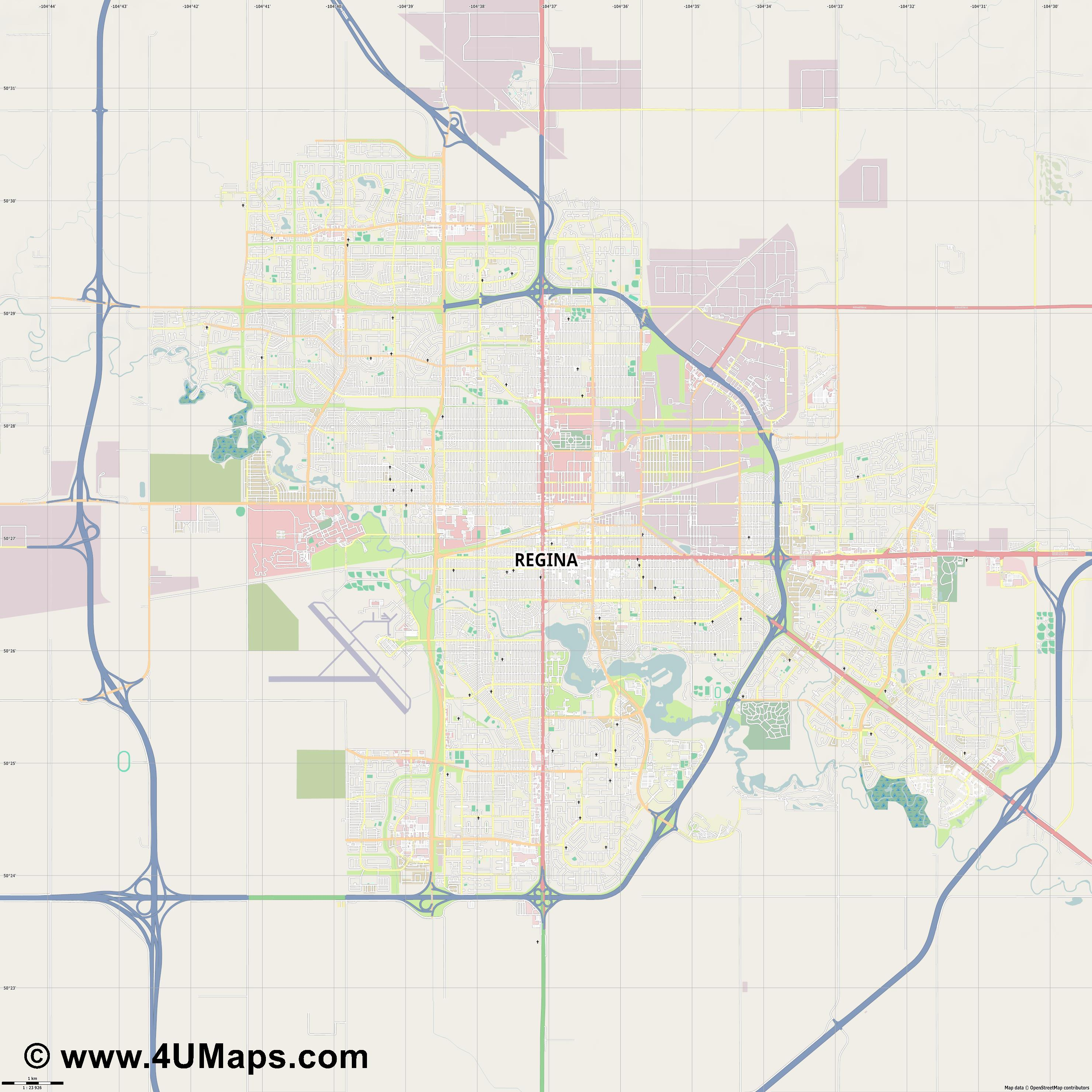 Regina  jpg high detail, large area preview vector city map
