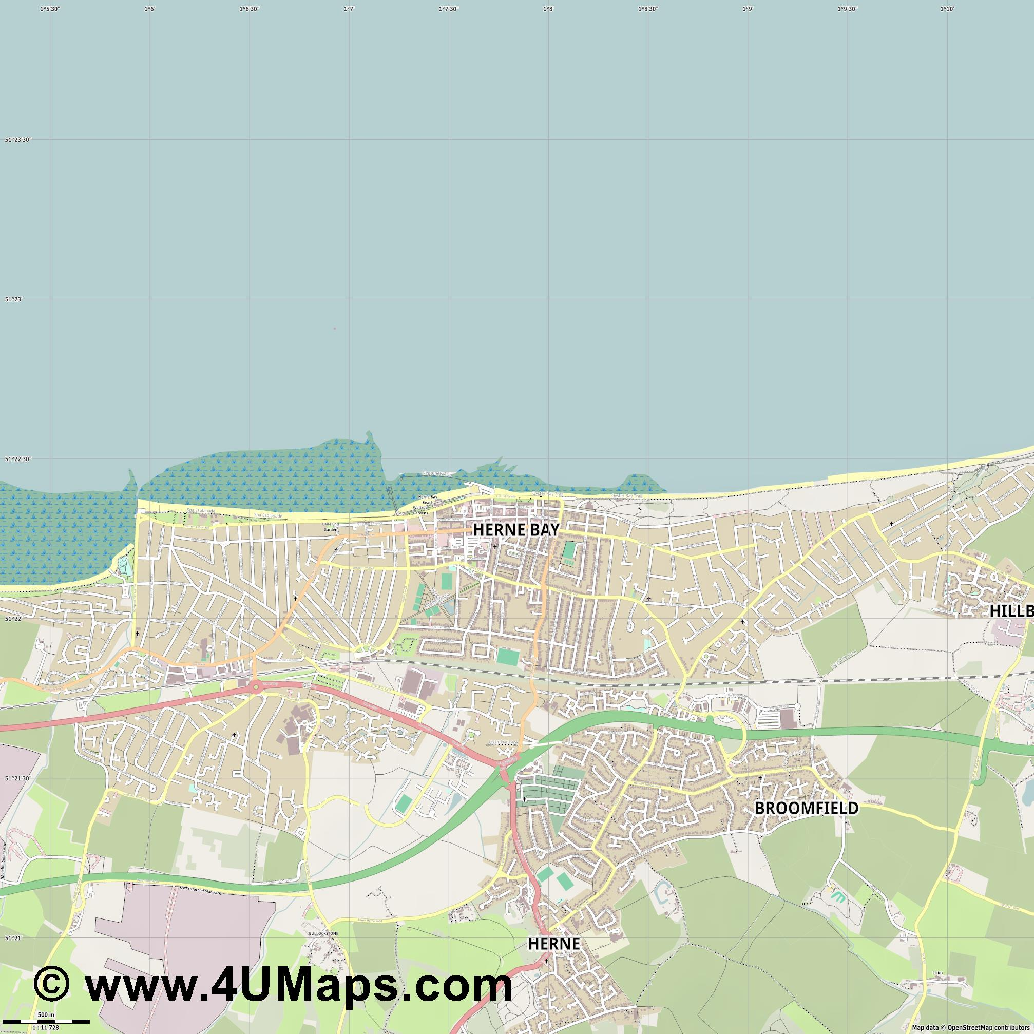 Herne Bay  jpg ultra high detail preview vector city map