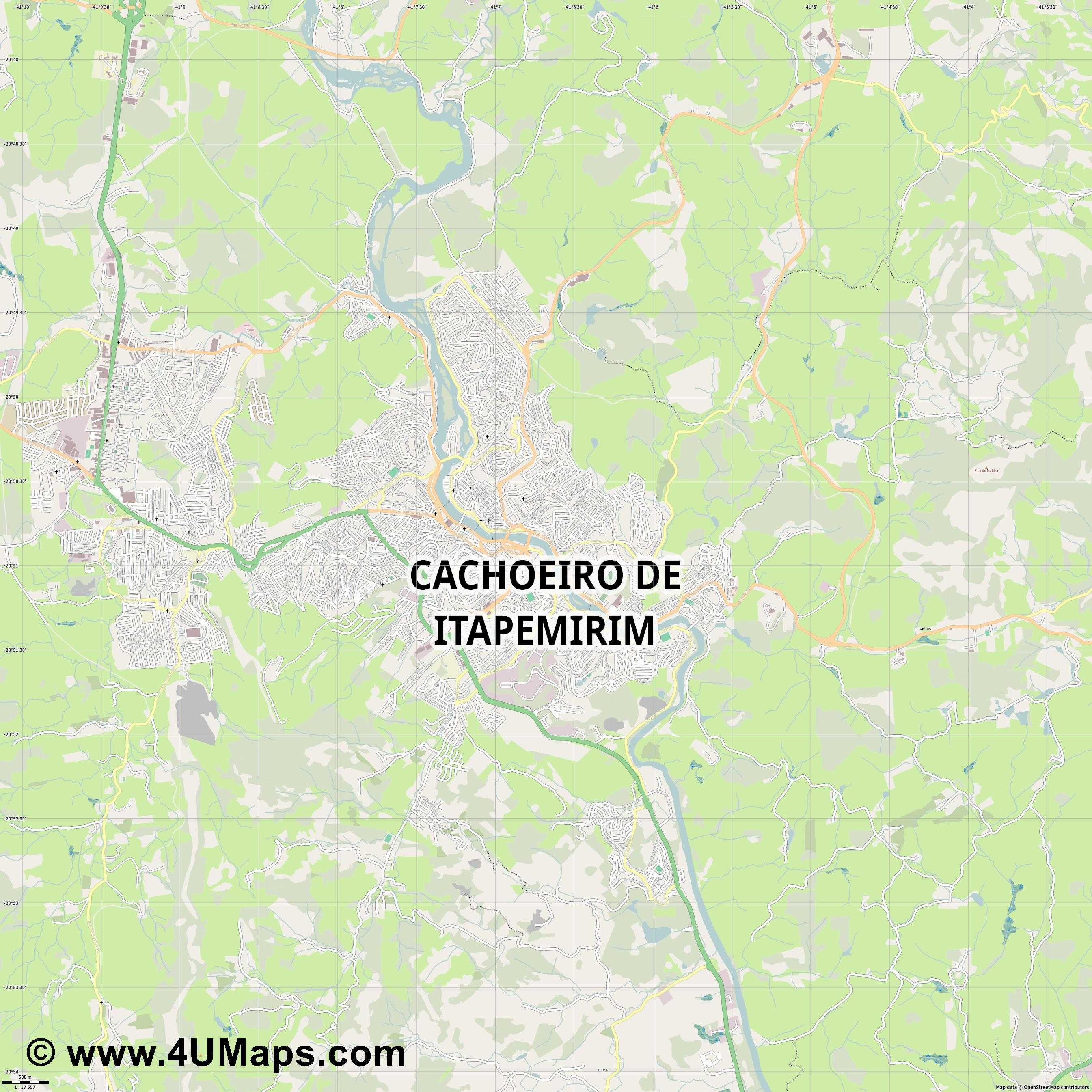 Cachoeiro de Itapemirim  jpg ultra high detail preview vector city map