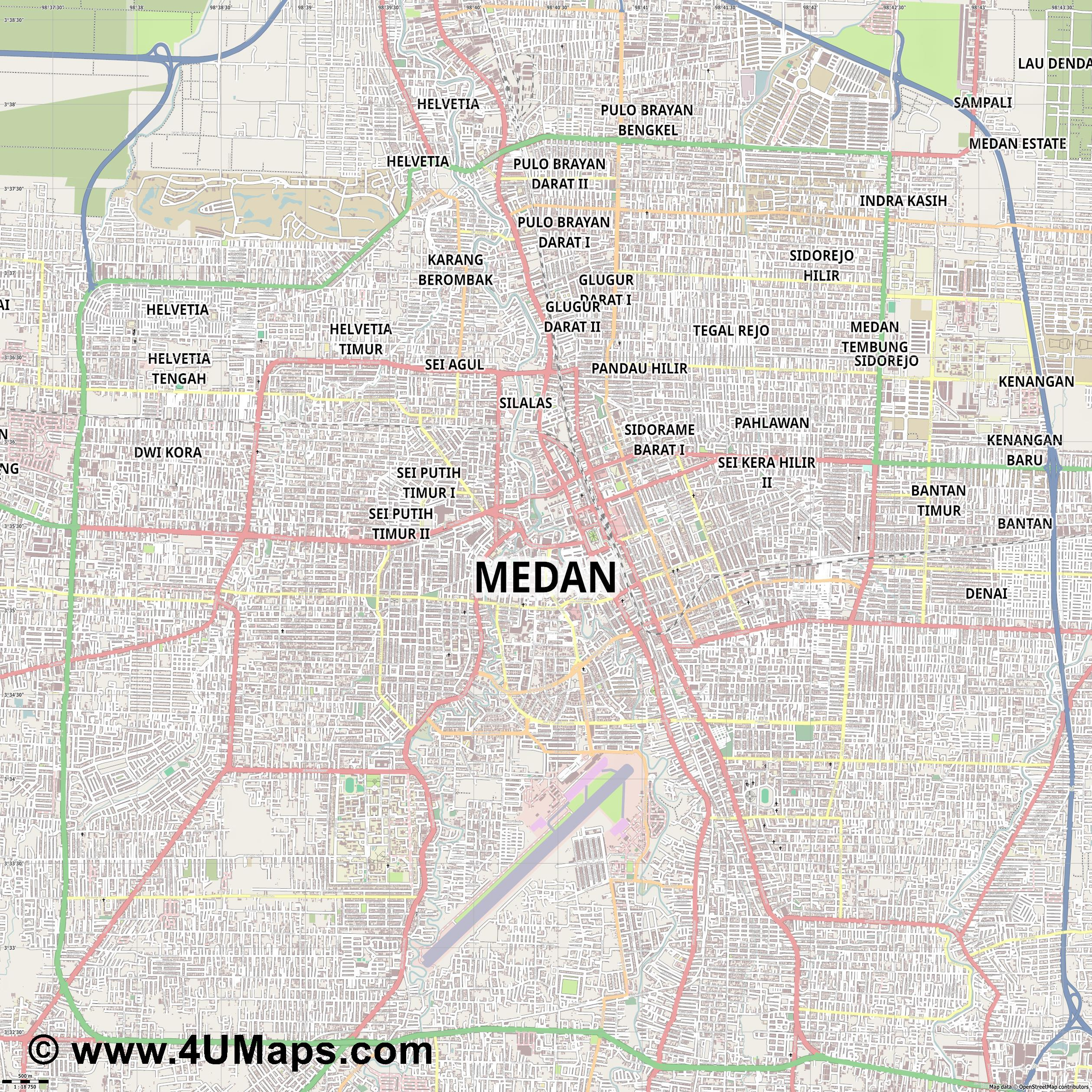 Medan  jpg ultra high detail preview vector city map