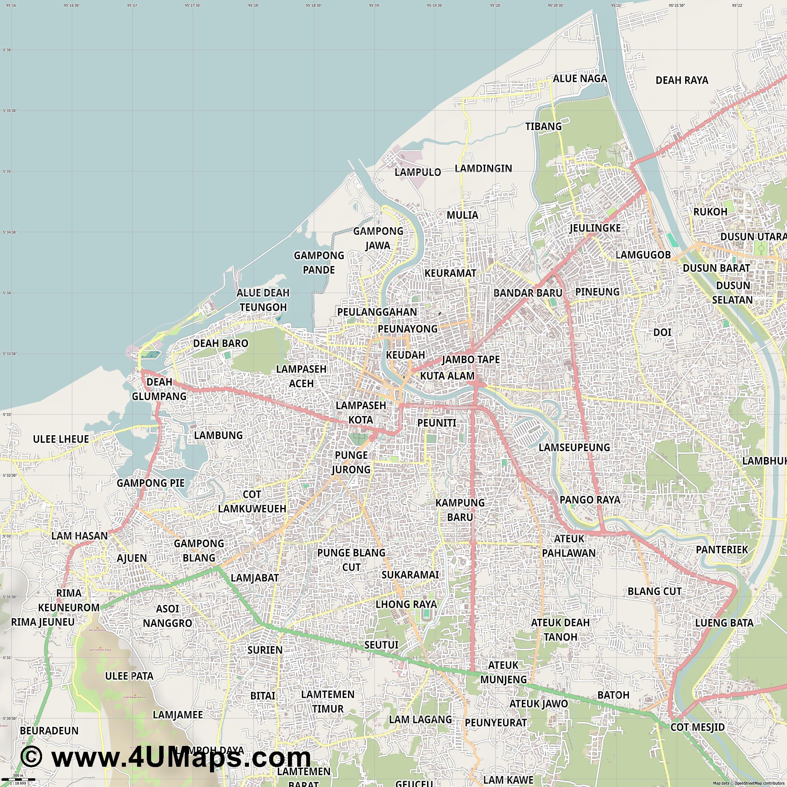 Pdf Svg Scalable City Map Vector Banda Aceh