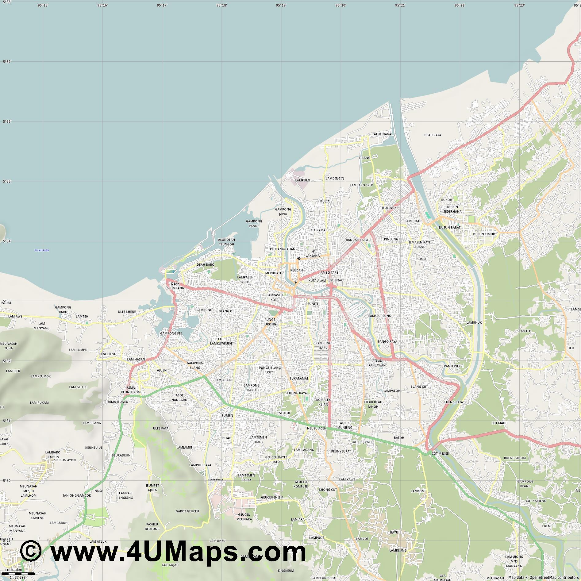 Banda Aceh  jpg high detail, large area preview vector city map