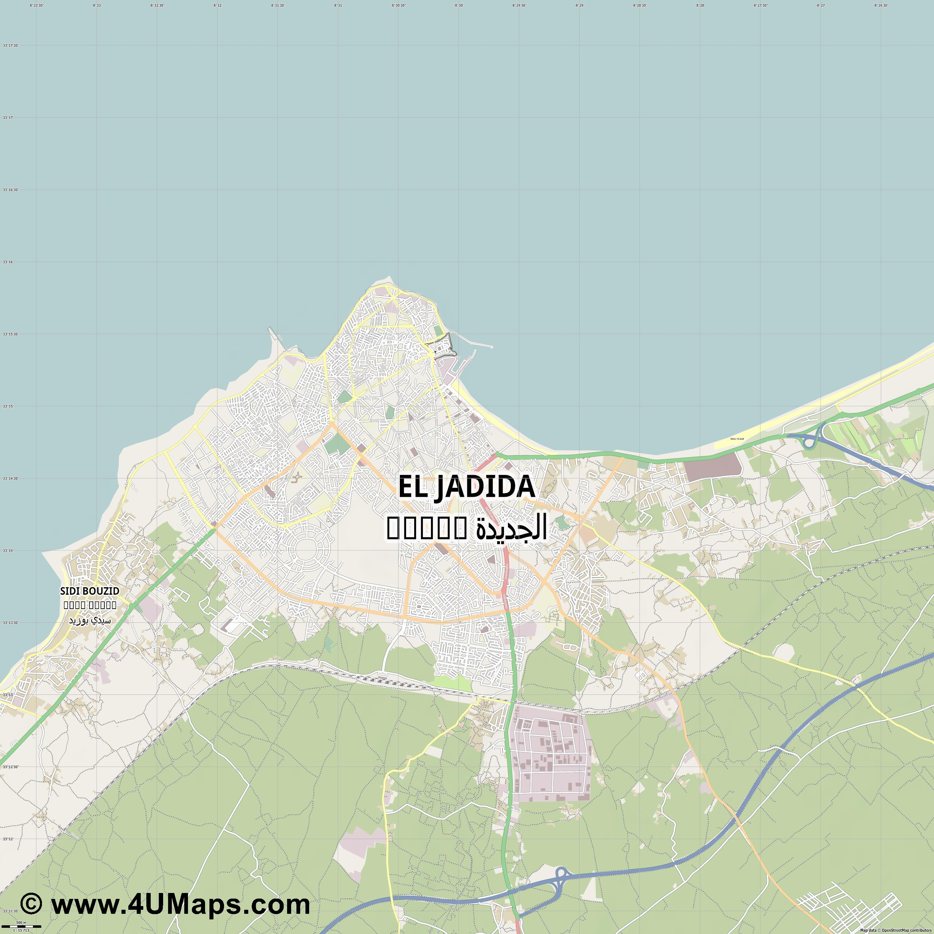 El Jadida الجديدة  jpg ultra high detail preview vector city map