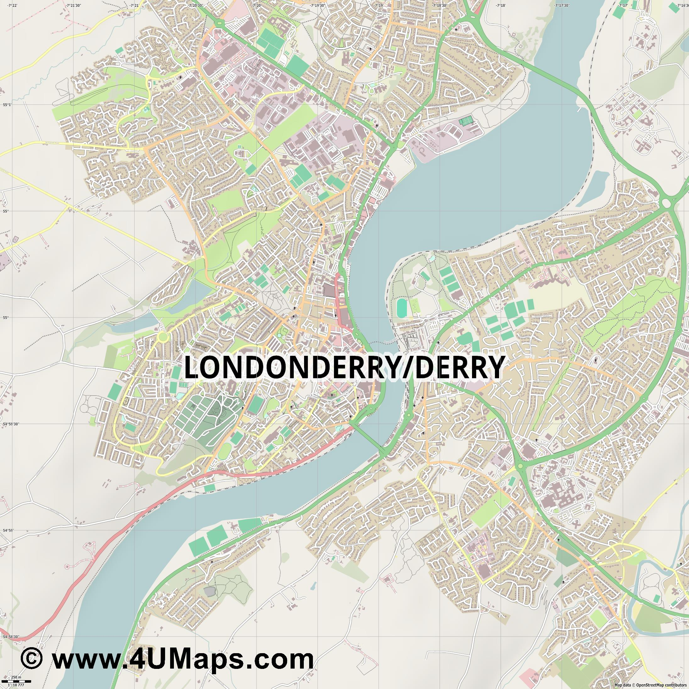 Londonderry Derry  jpg ultra high detail preview vector city map