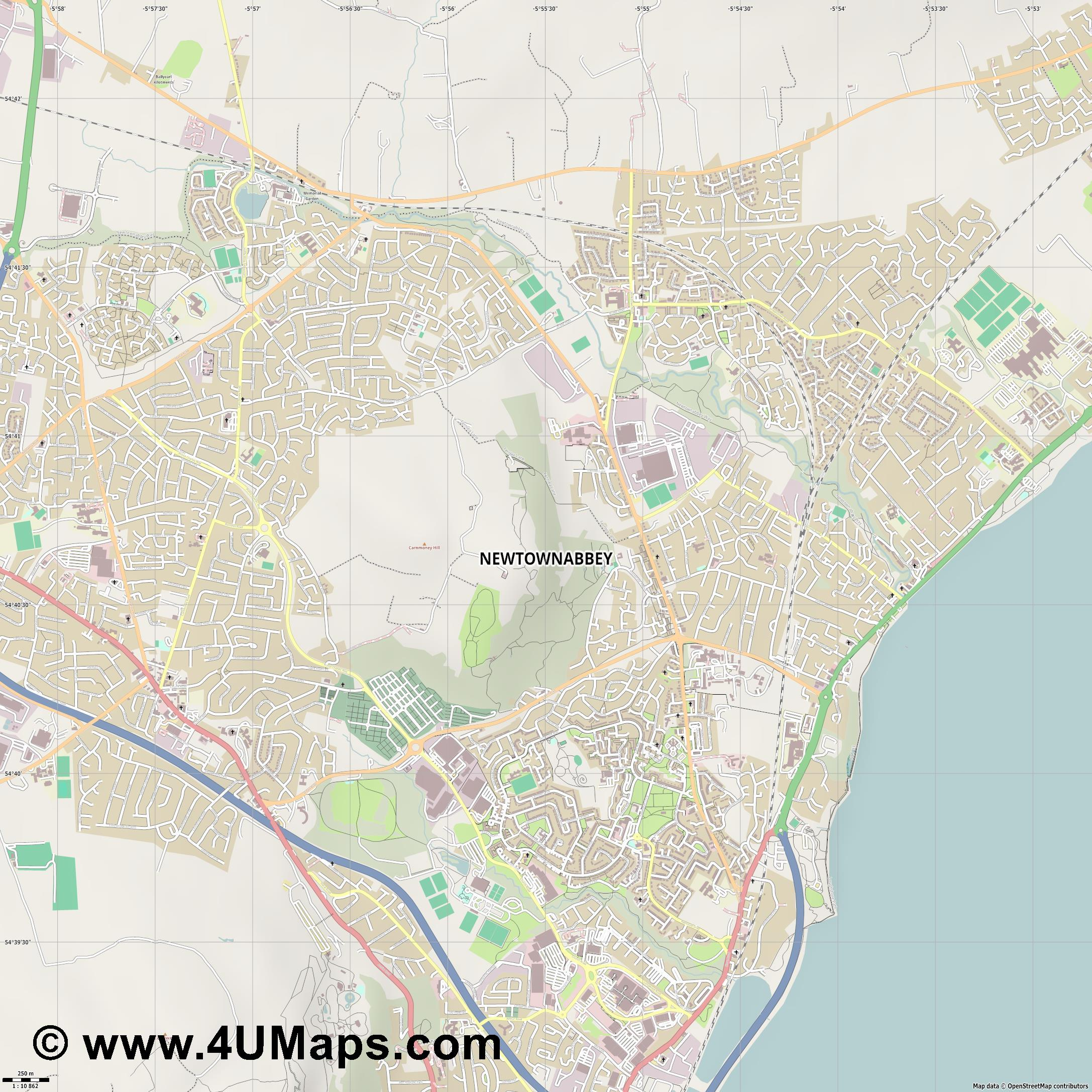 Newtownabbey  jpg ultra high detail preview vector city map