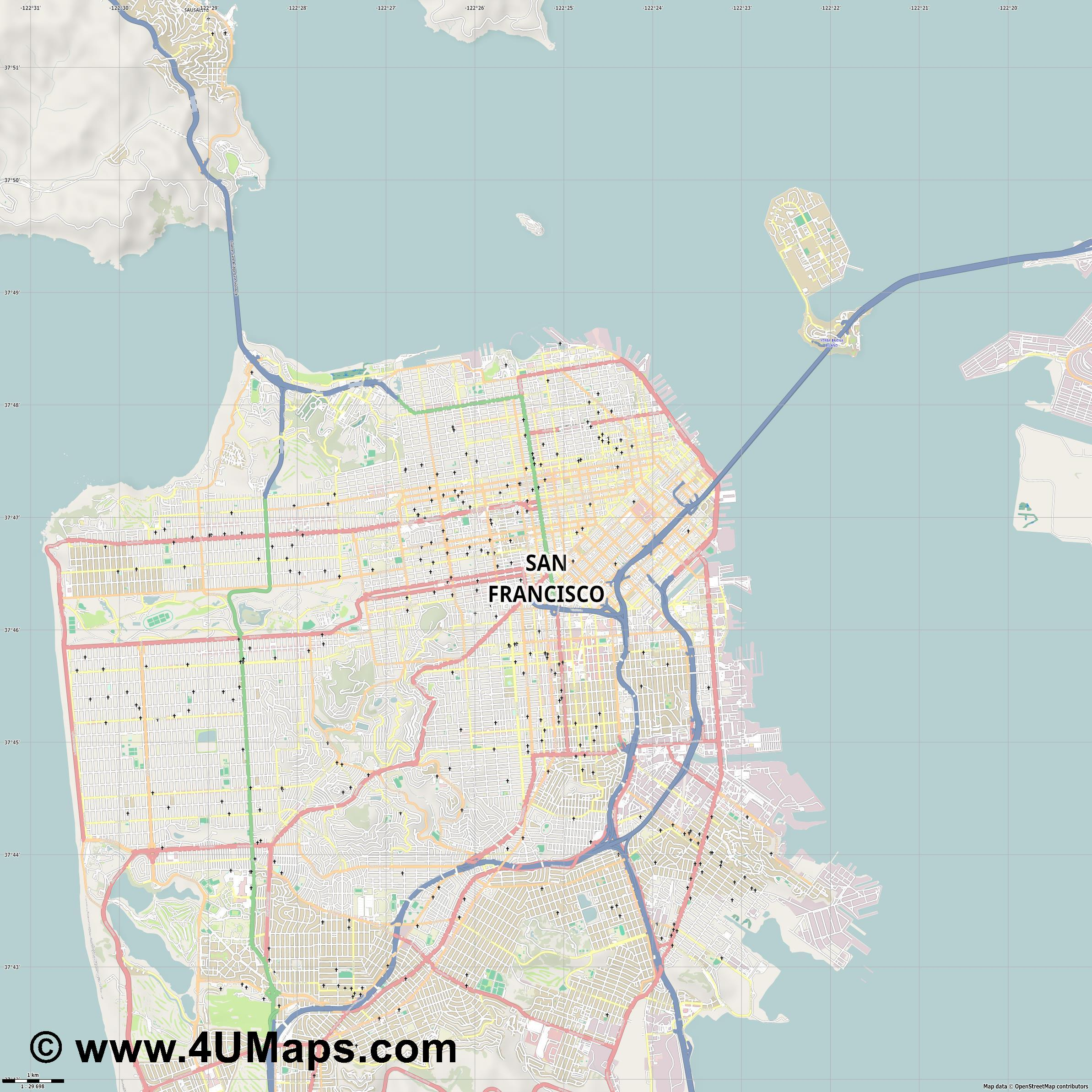 San Francisco  jpg high detail, large area preview vector city map