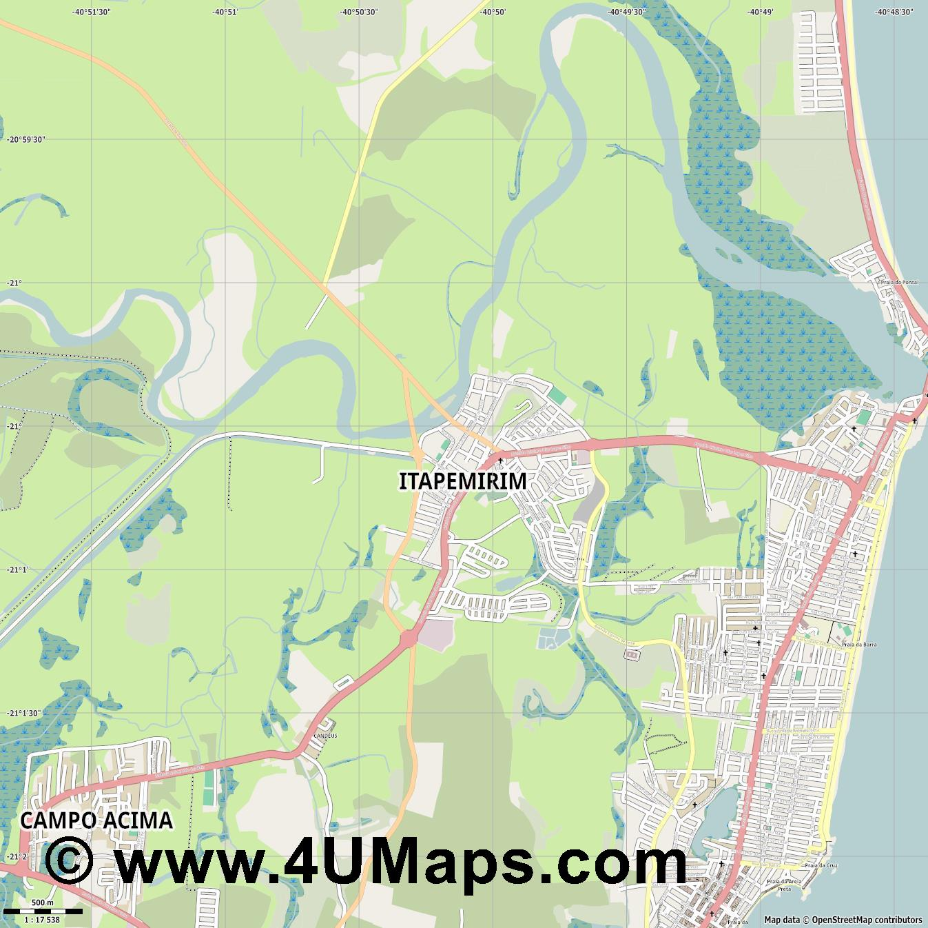 Itapemirim  jpg ultra high detail preview vector city map