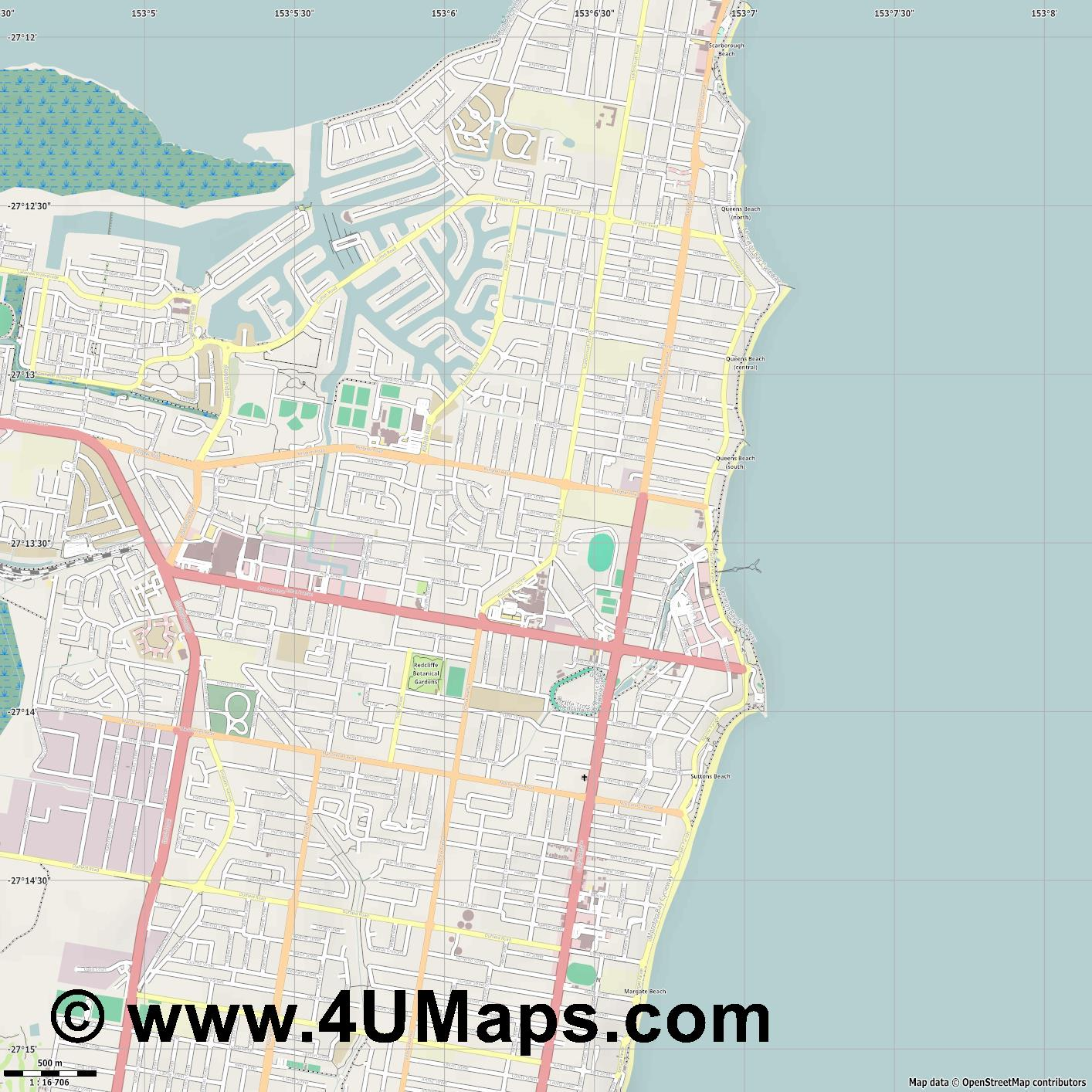 Redcliffe  jpg ultra high detail preview vector city map