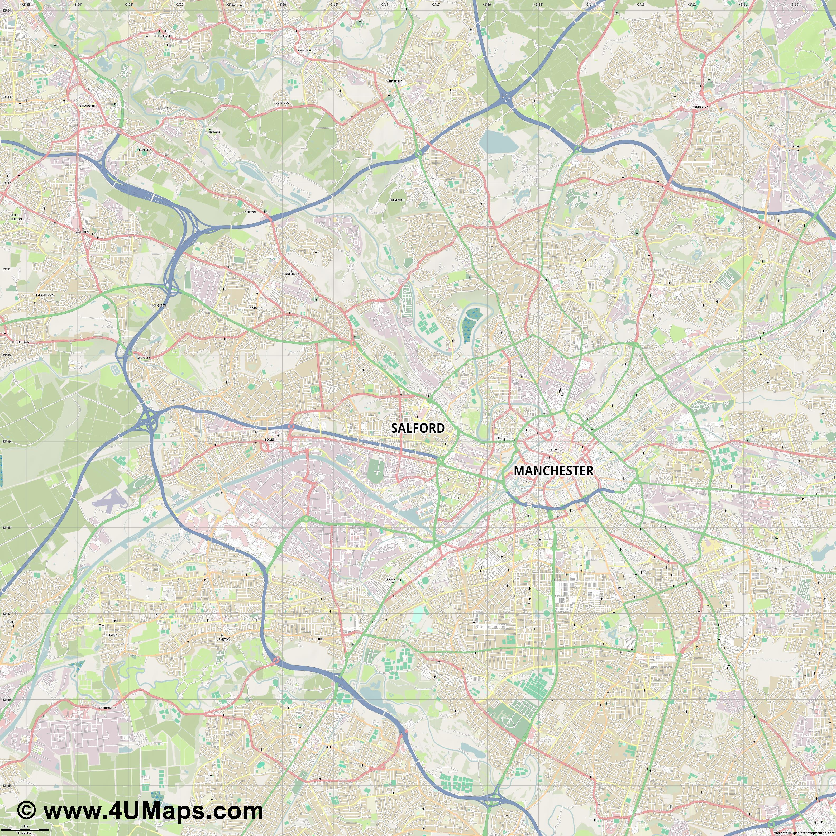 Salford  jpg high detail, large area preview vector city map