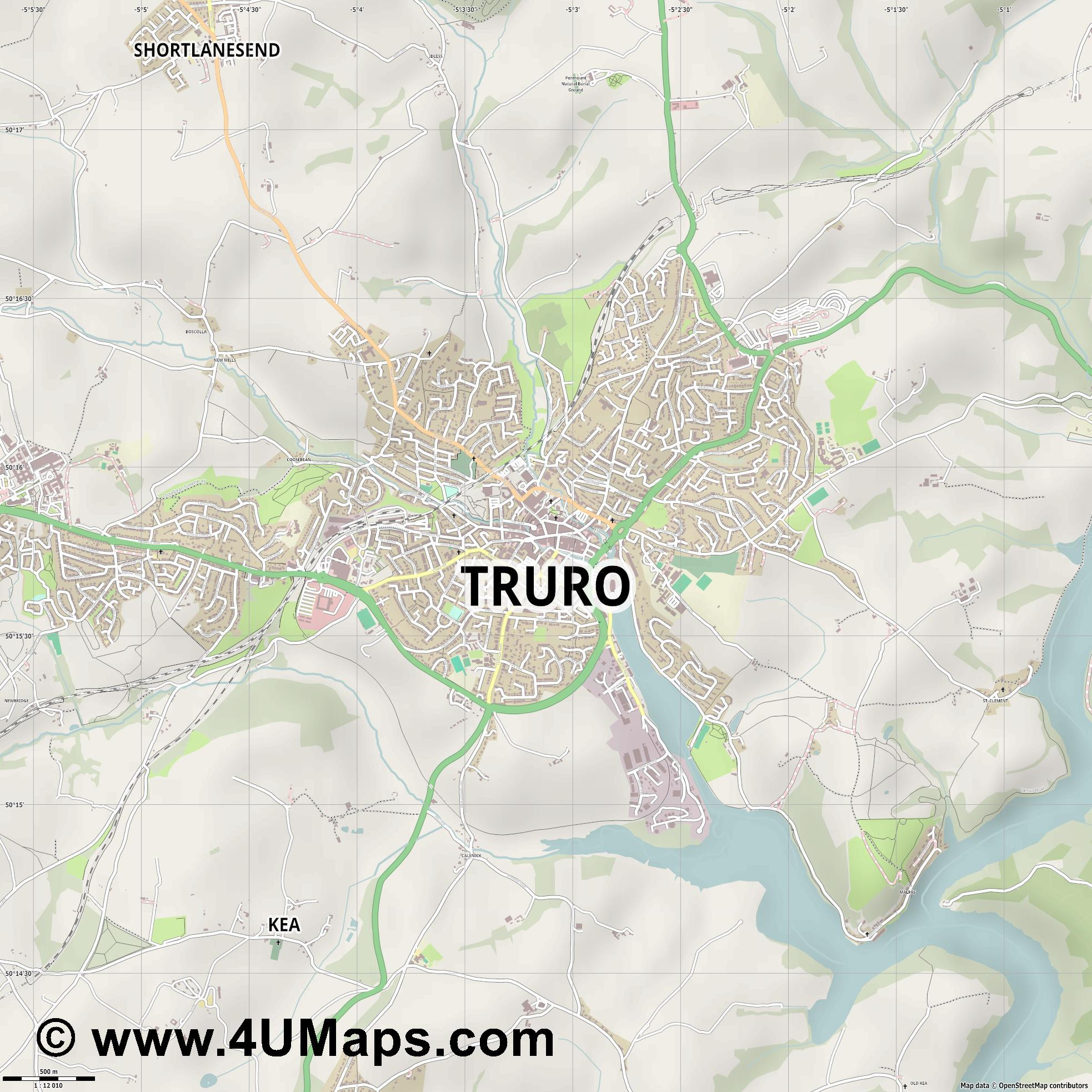 Truro  jpg ultra high detail preview vector city map