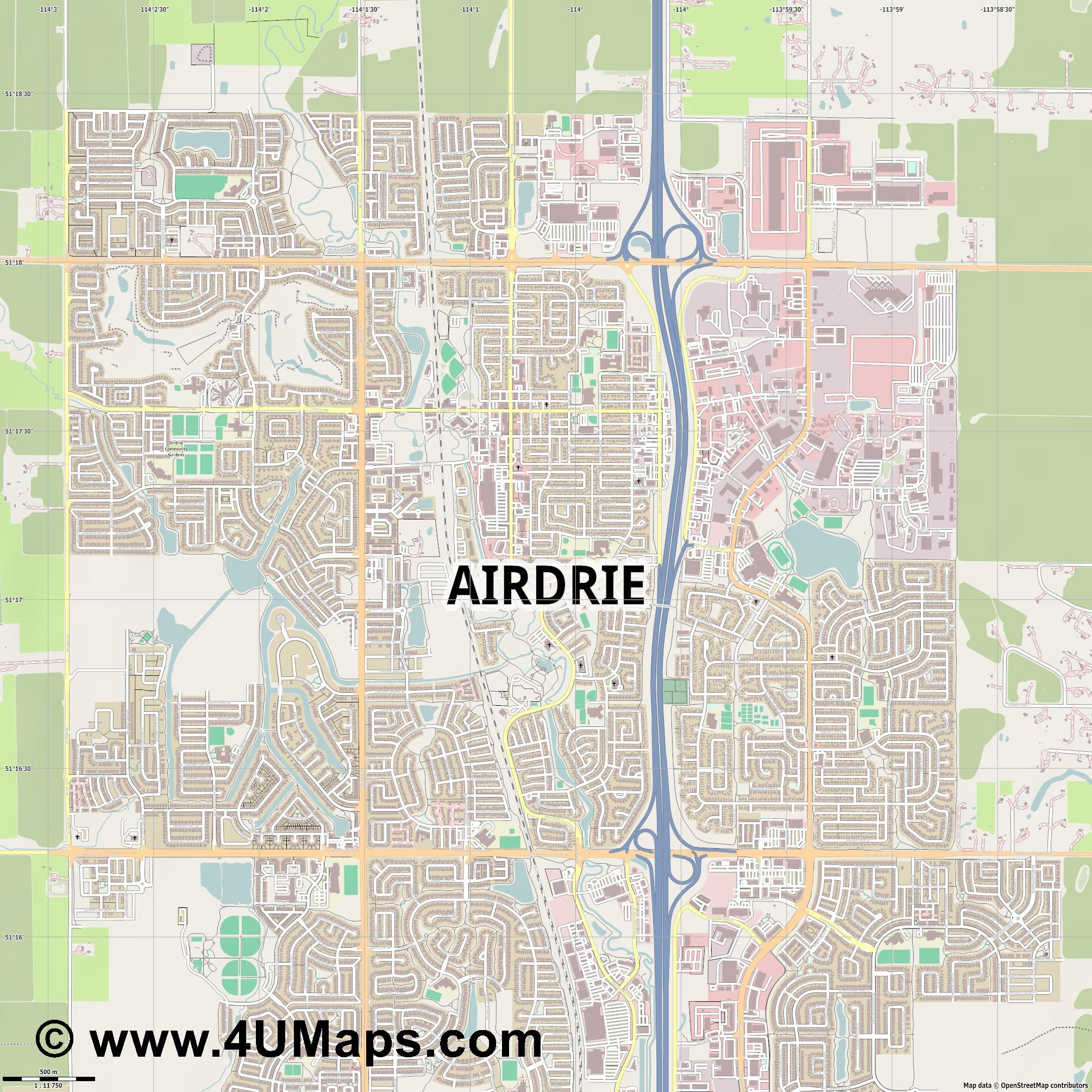 Airdrie  jpg ultra high detail preview vector city map