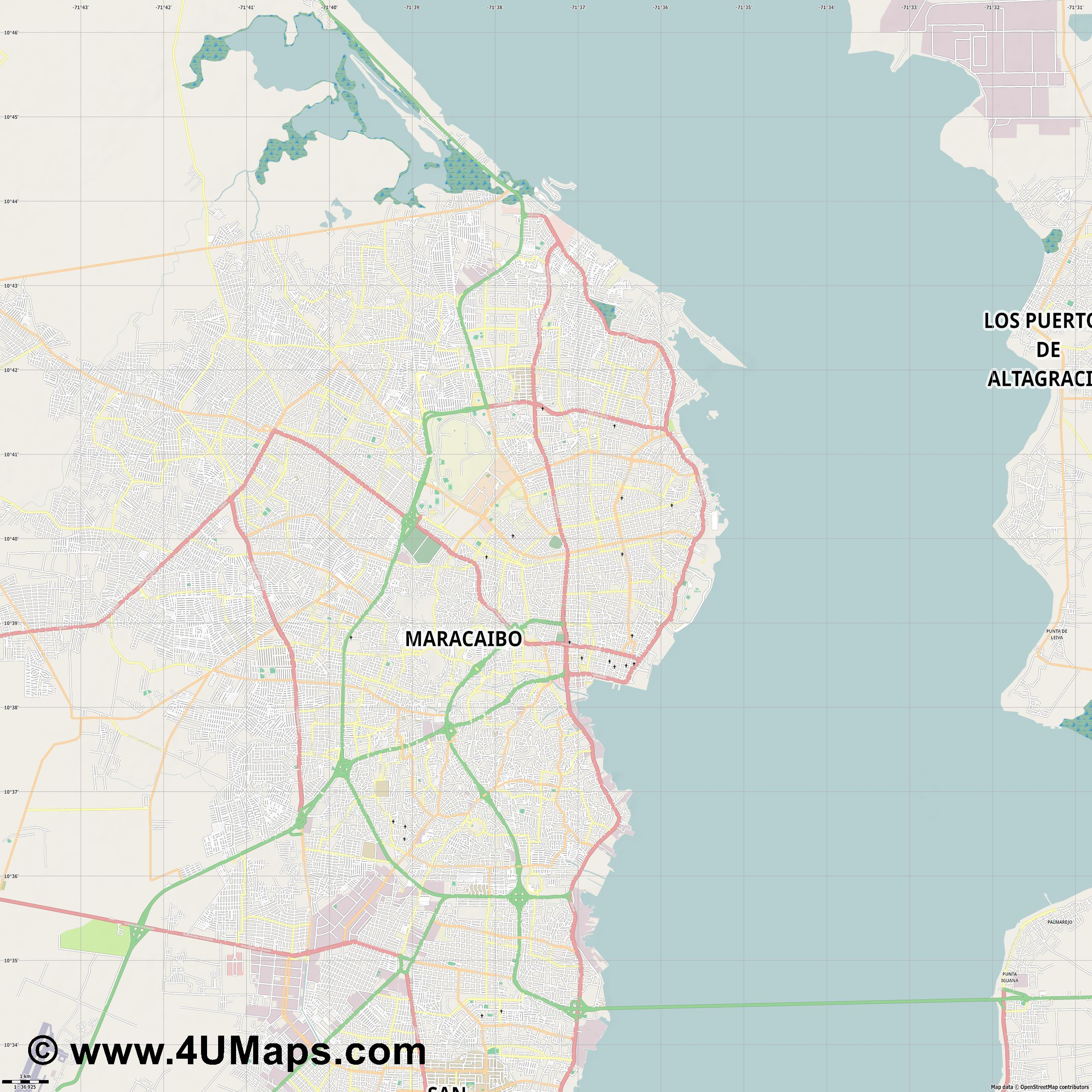 Maracaibo  jpg high detail, large area preview vector city map