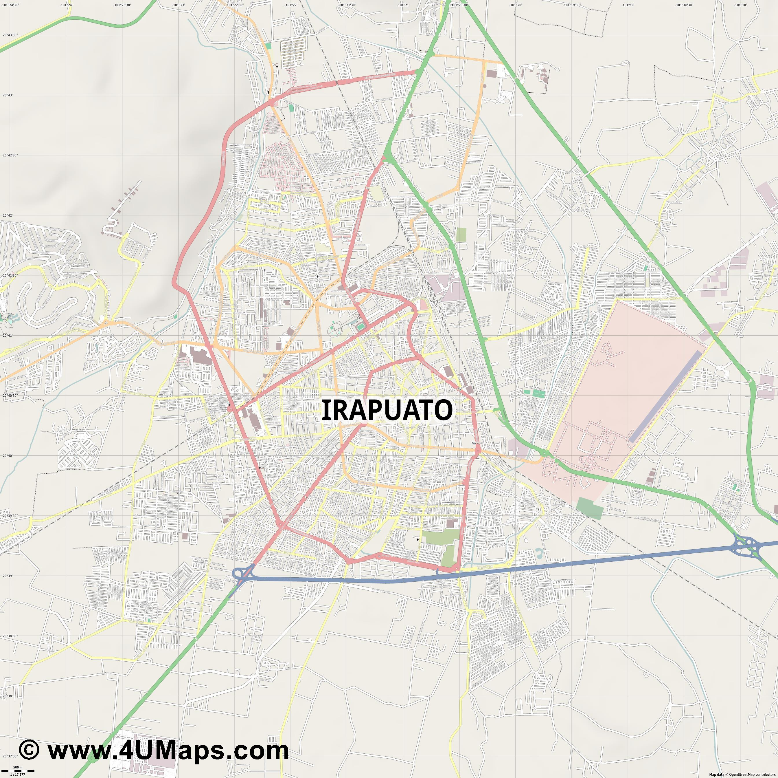 Irapuato  jpg ultra high detail preview vector city map