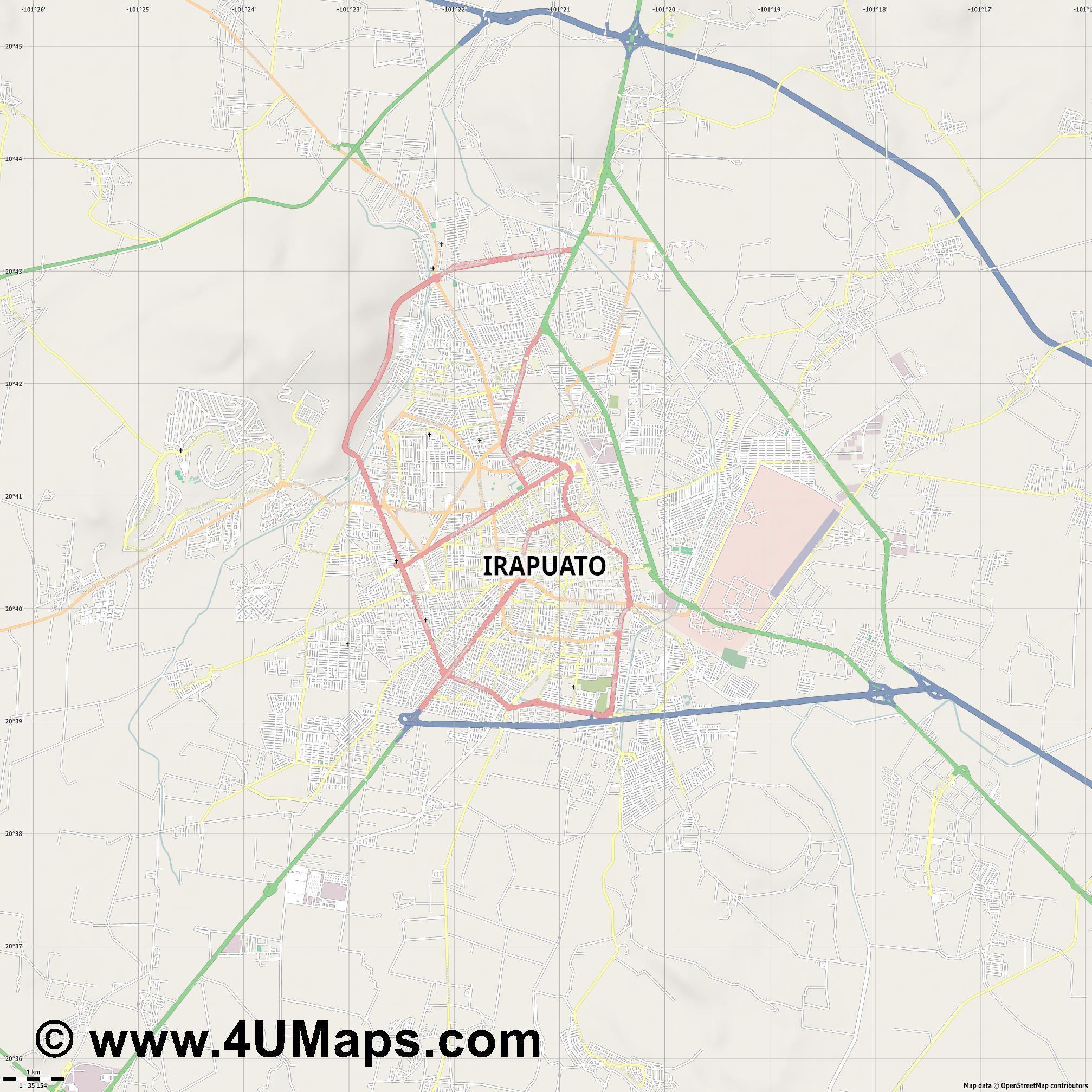 Irapuato  jpg high detail, large area preview vector city map