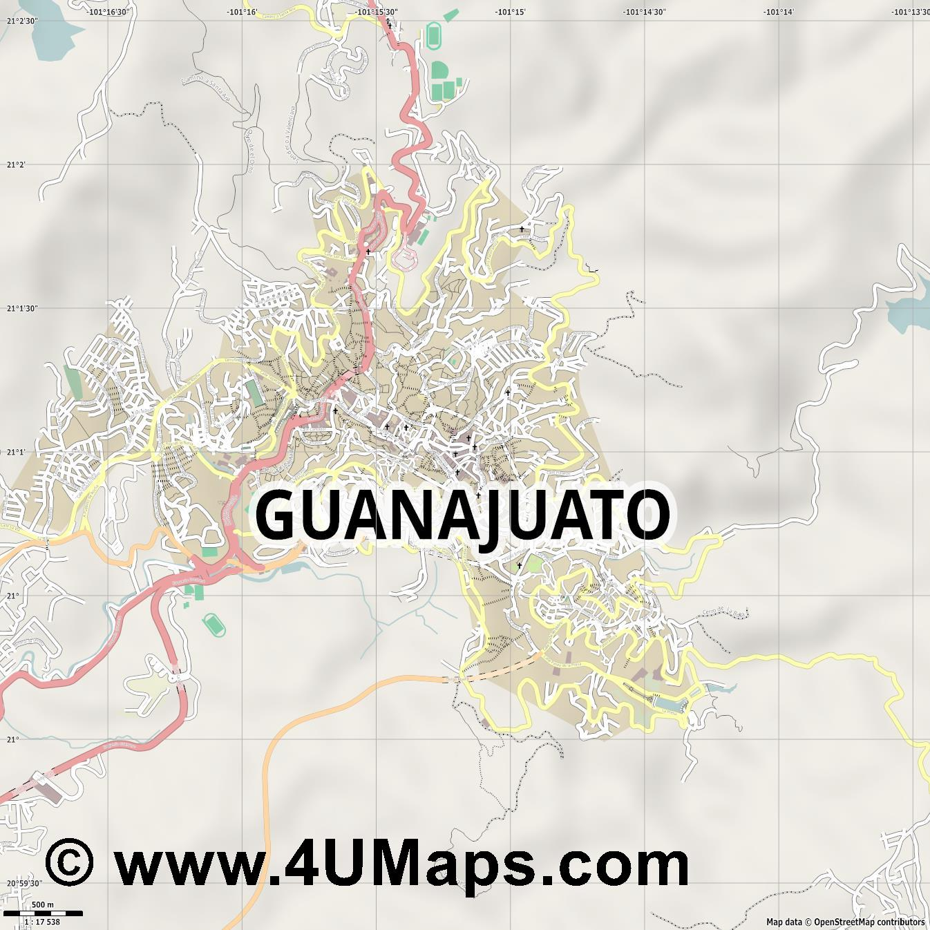 Guanajuato  jpg ultra high detail preview vector city map