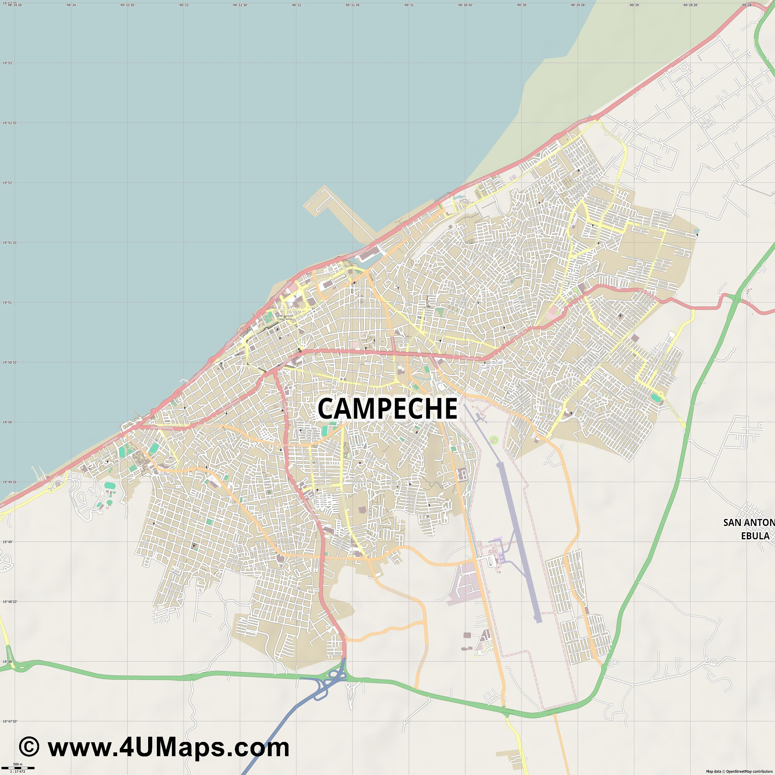 Campeche  jpg ultra high detail preview vector city map