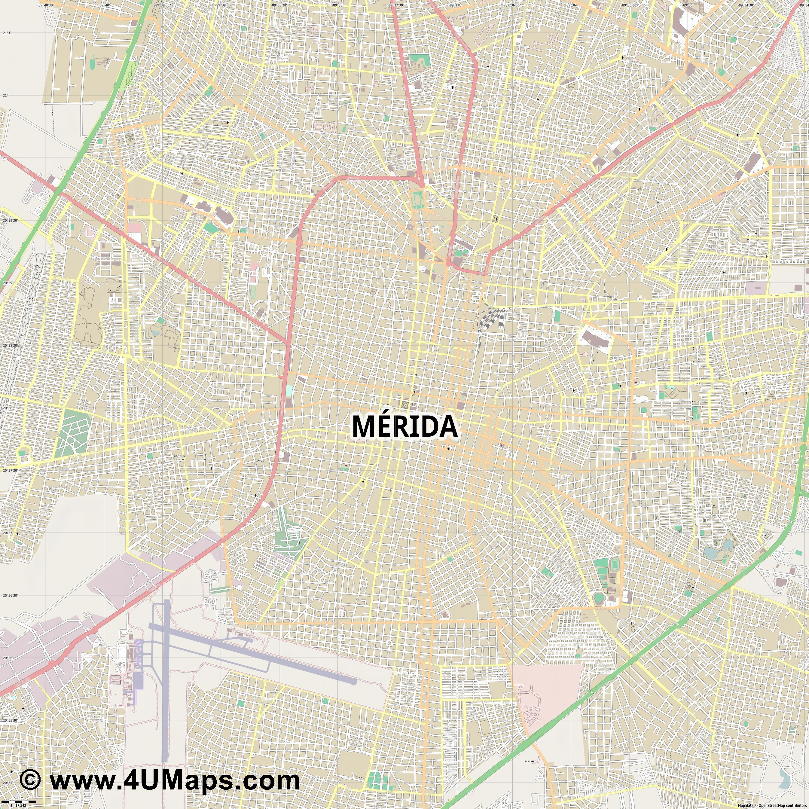 Mérida  jpg ultra high detail preview vector city map