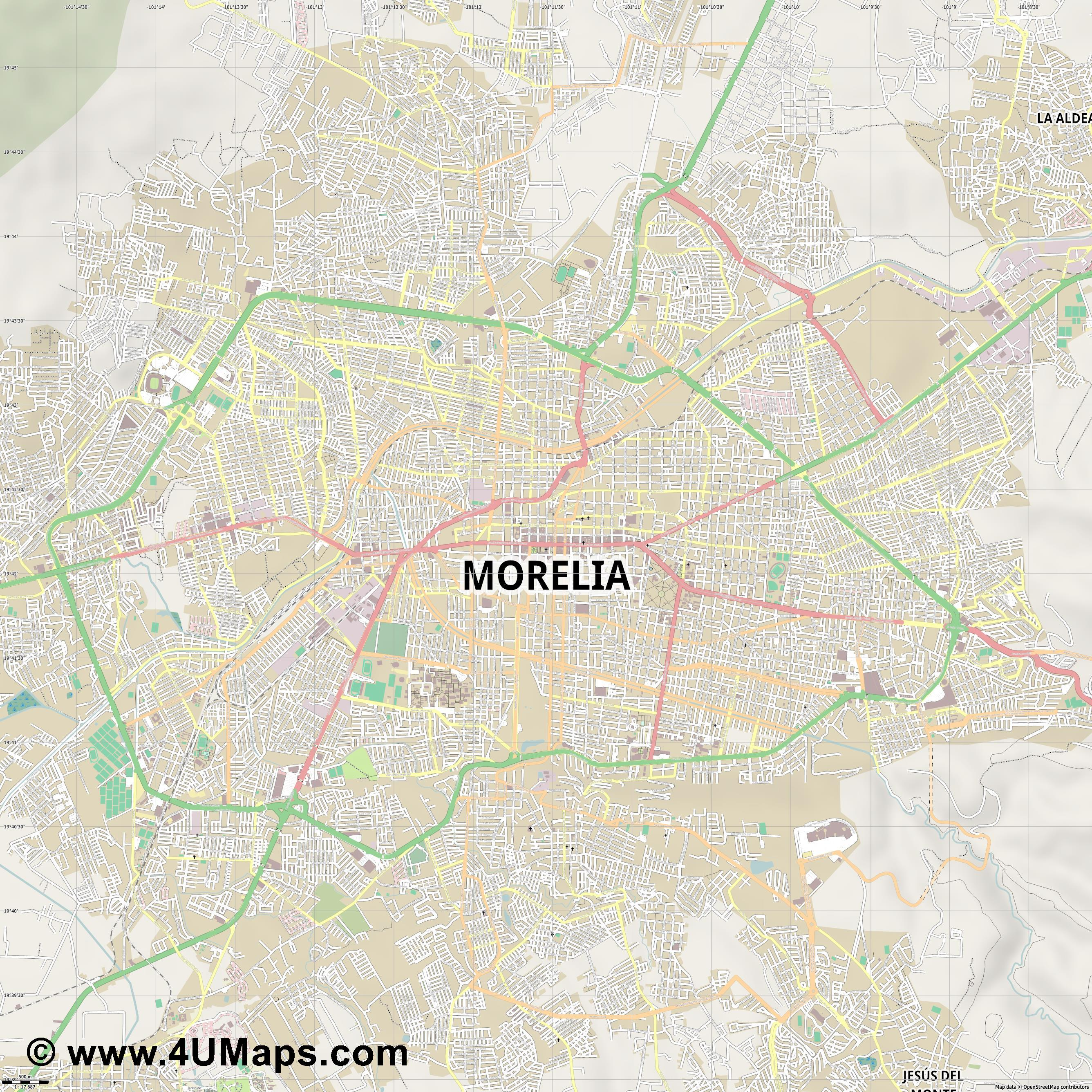 Morelia  jpg ultra high detail preview vector city map