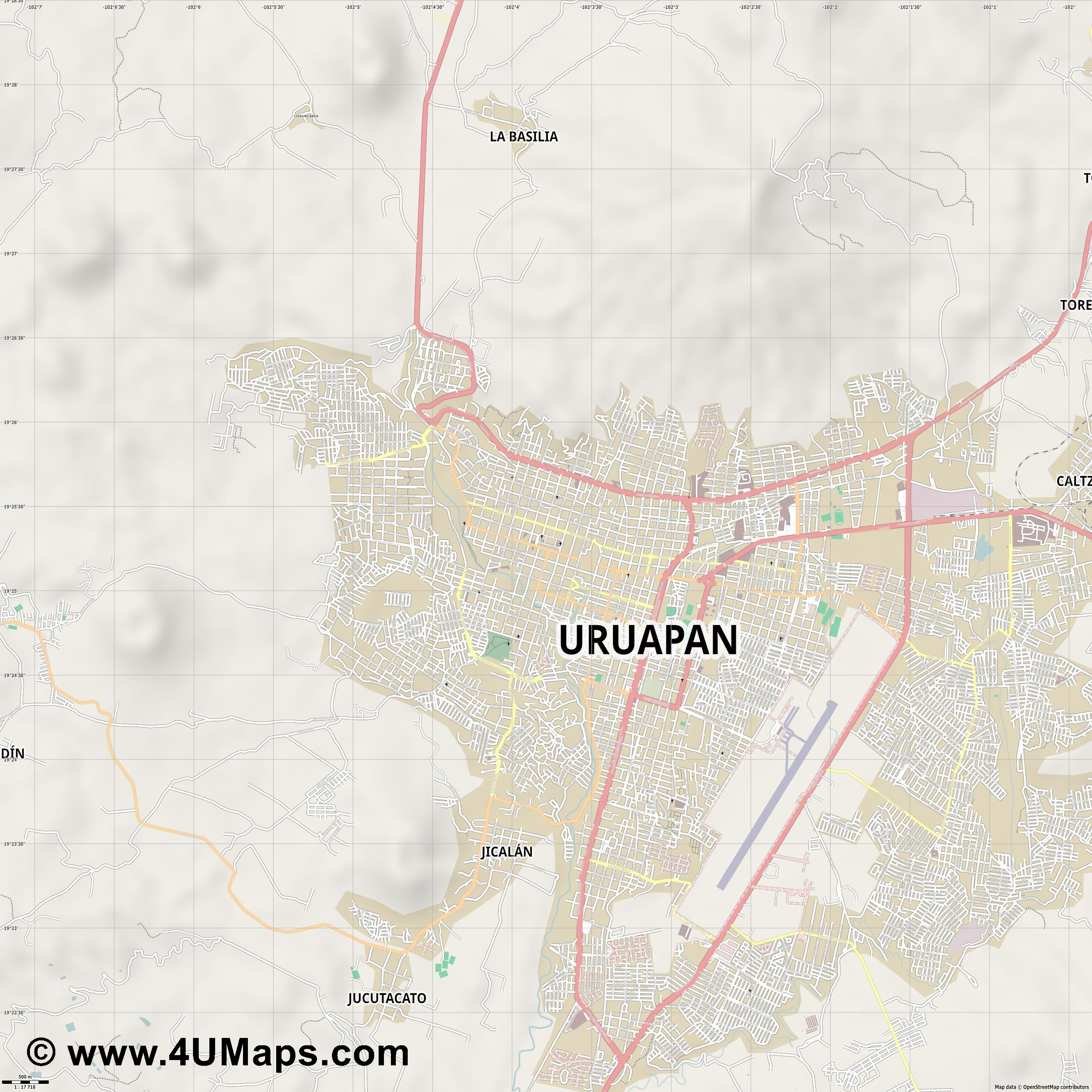 Uruapan  jpg ultra high detail preview vector city map