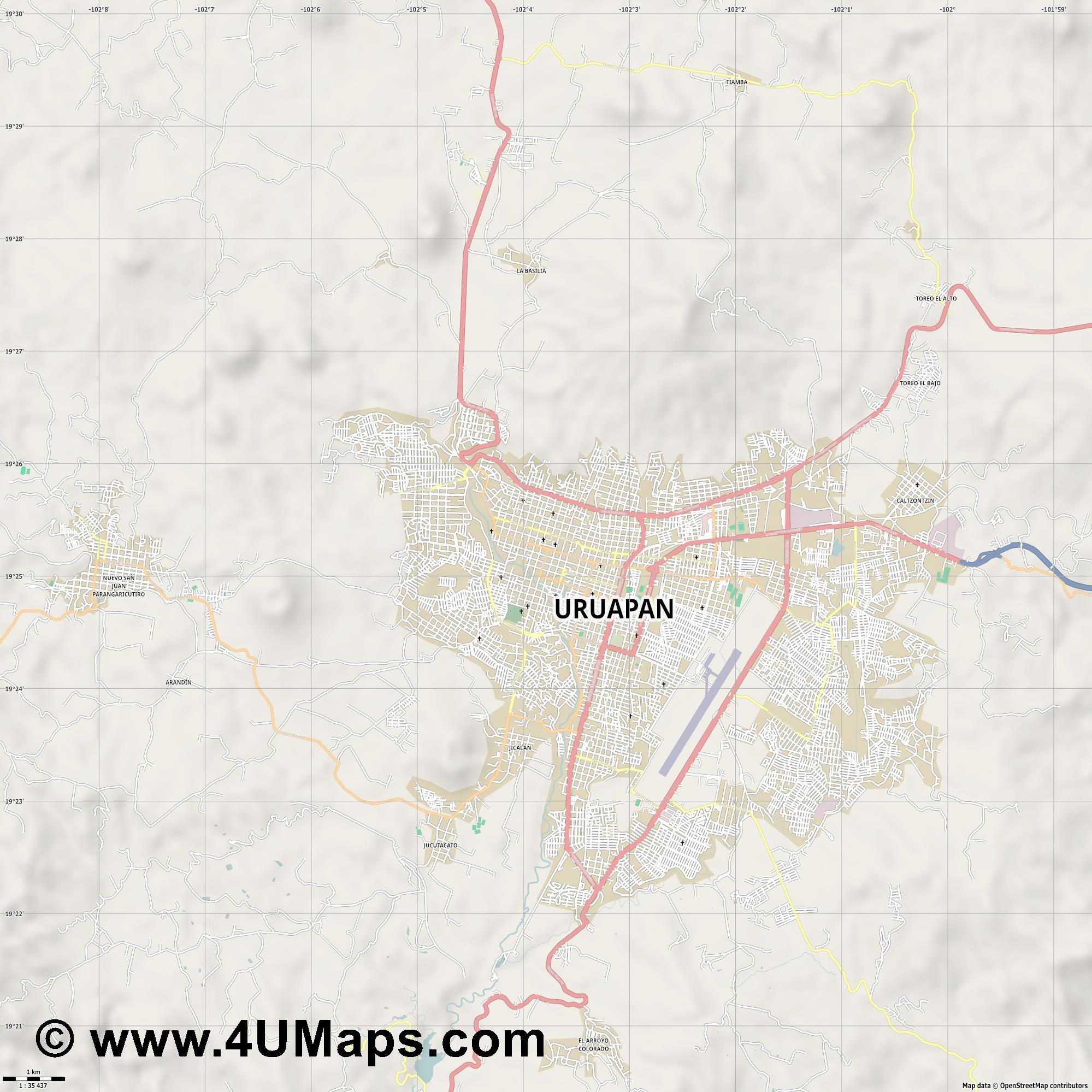 Uruapan  jpg high detail, large area preview vector city map