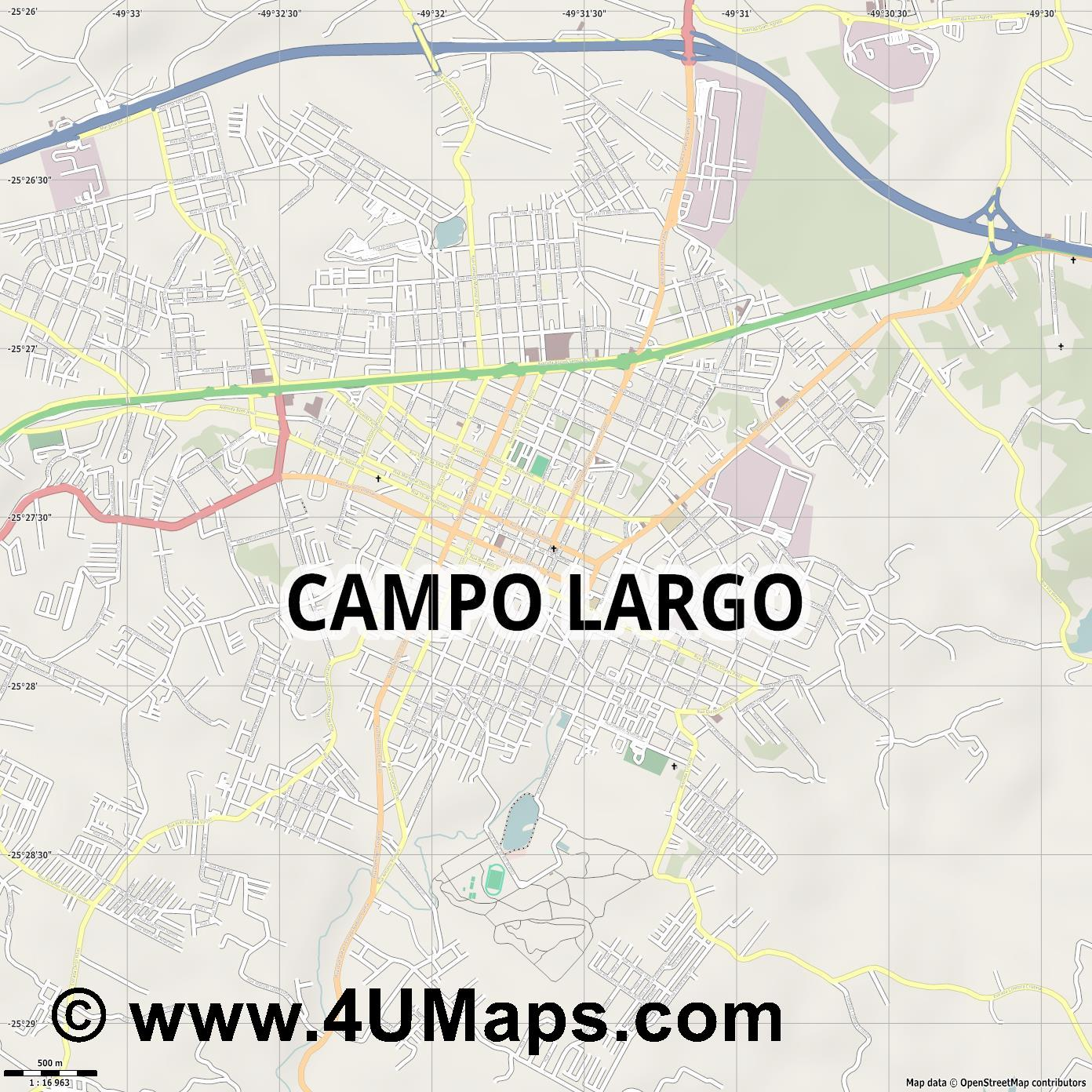 Campo Largo  jpg ultra high detail preview vector city map