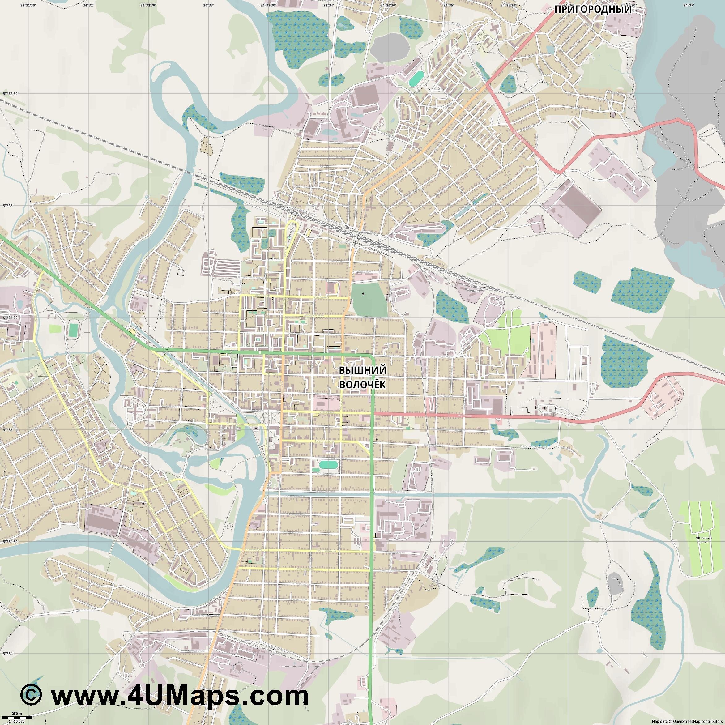 Вышний Волочек Vysnij Volocek Wyschni Wolotschok  jpg ultra high detail preview vector city map