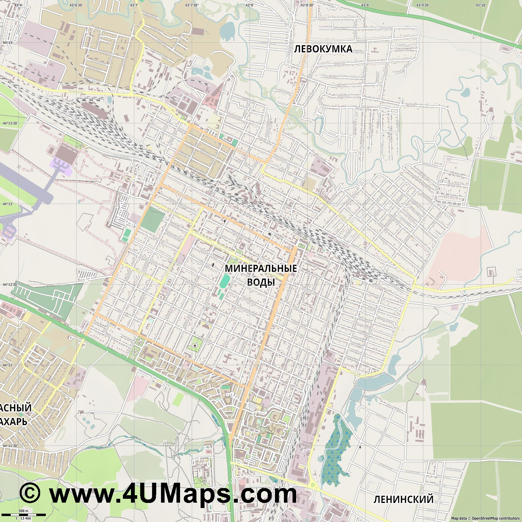 Минеральные Воды Mineralnye Vody Mineralnyje Wody  jpg ultra high detail preview vector city map