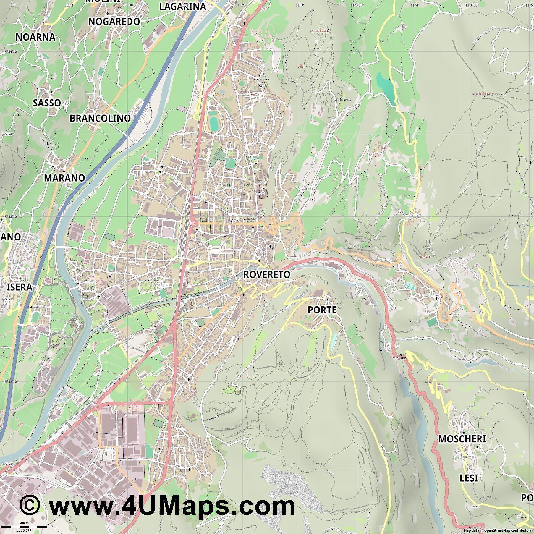 Rovereto  jpg ultra high detail preview vector city map