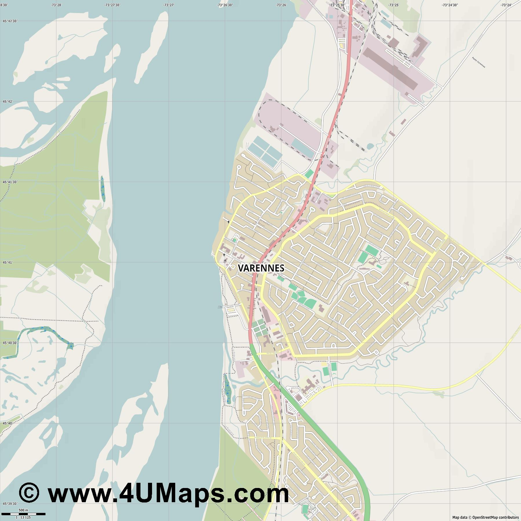 Varennes  jpg ultra high detail preview vector city map