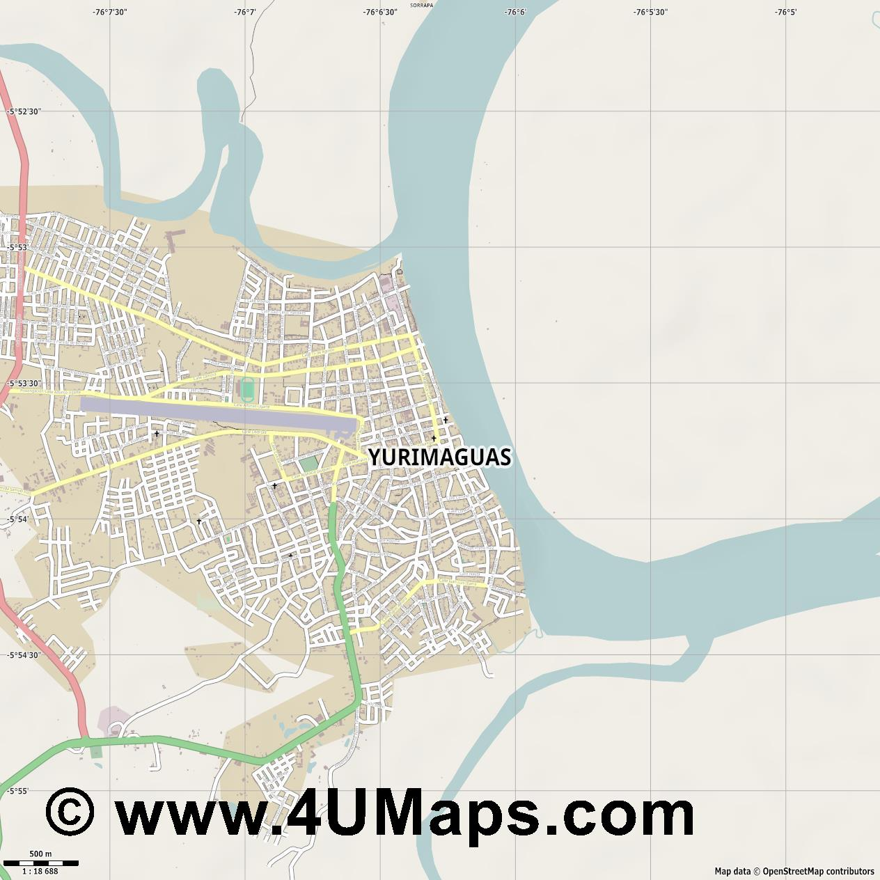 Yurimaguas  jpg ultra high detail preview vector city map