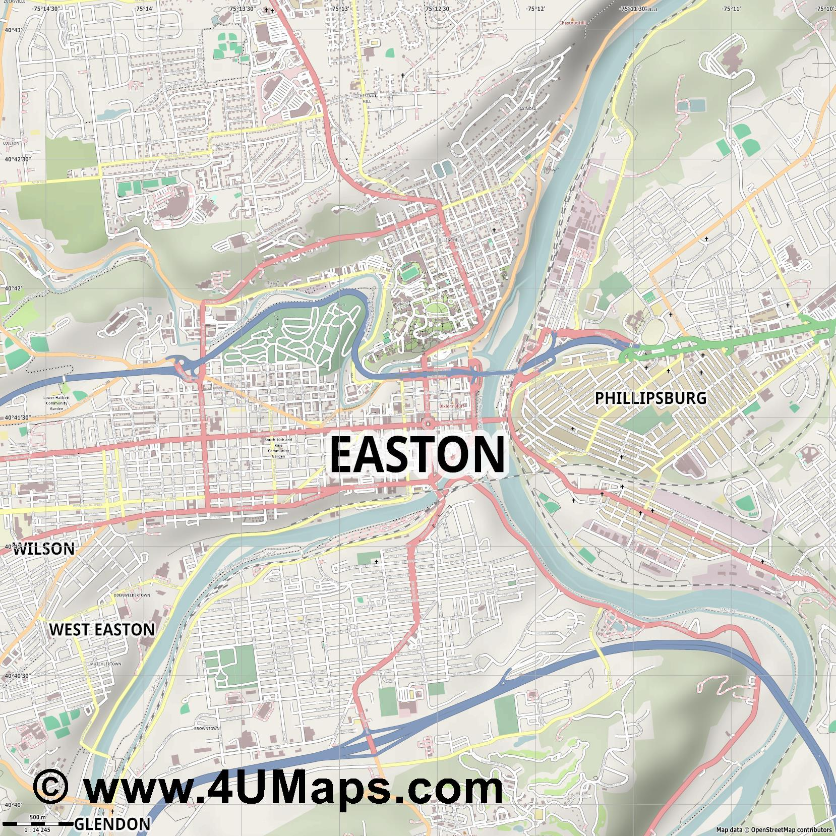 Easton  jpg ultra high detail preview vector city map