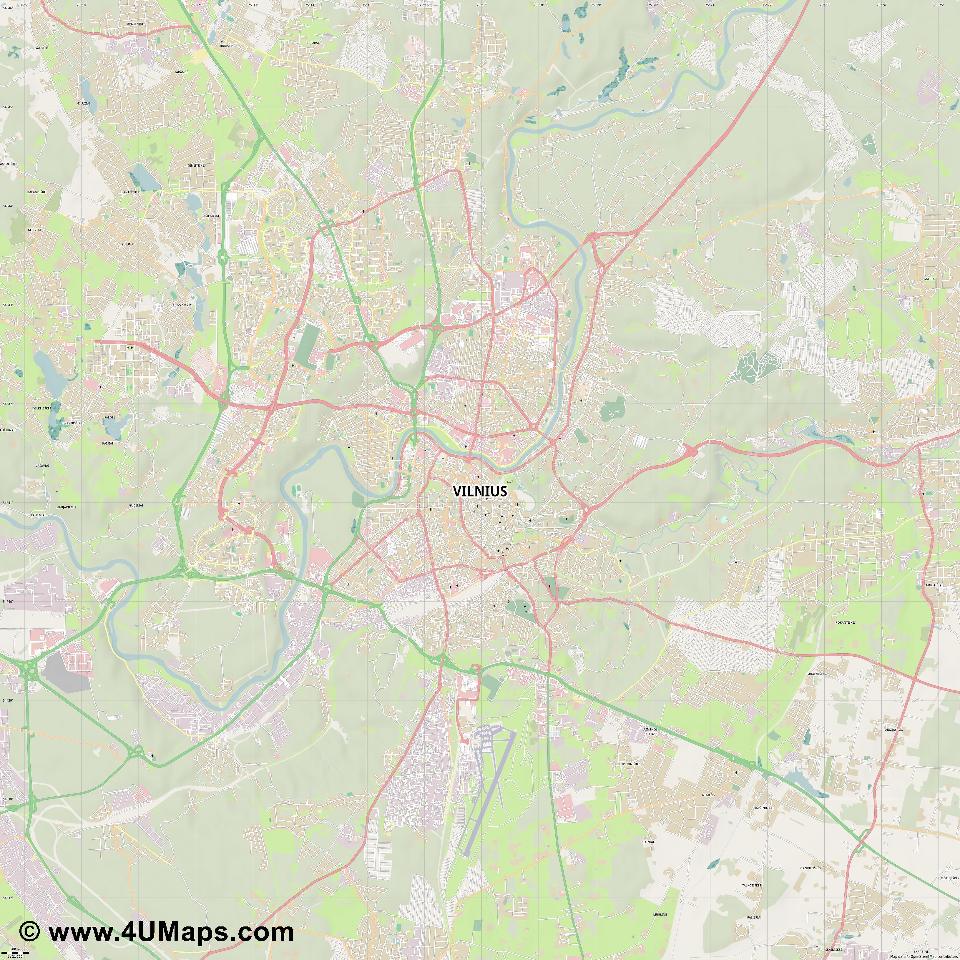 Svg Scalable Vector City Map Vilnius - Vilnius map