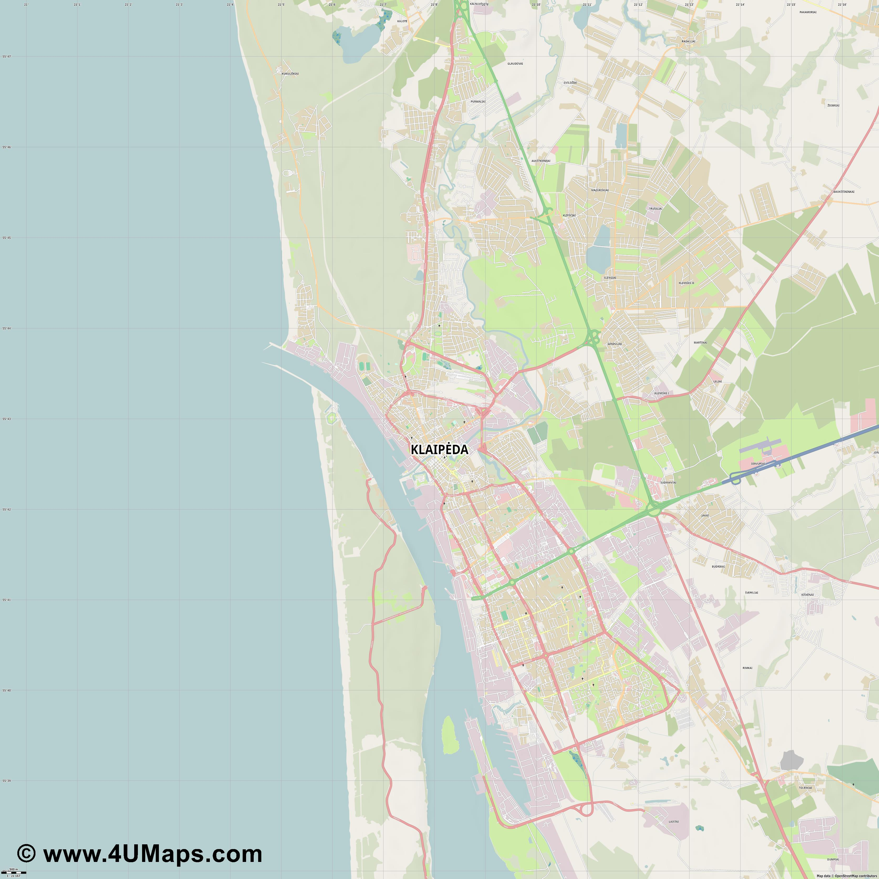 Svg Scalable Vector City Map Klaipėda - Klaipėda map